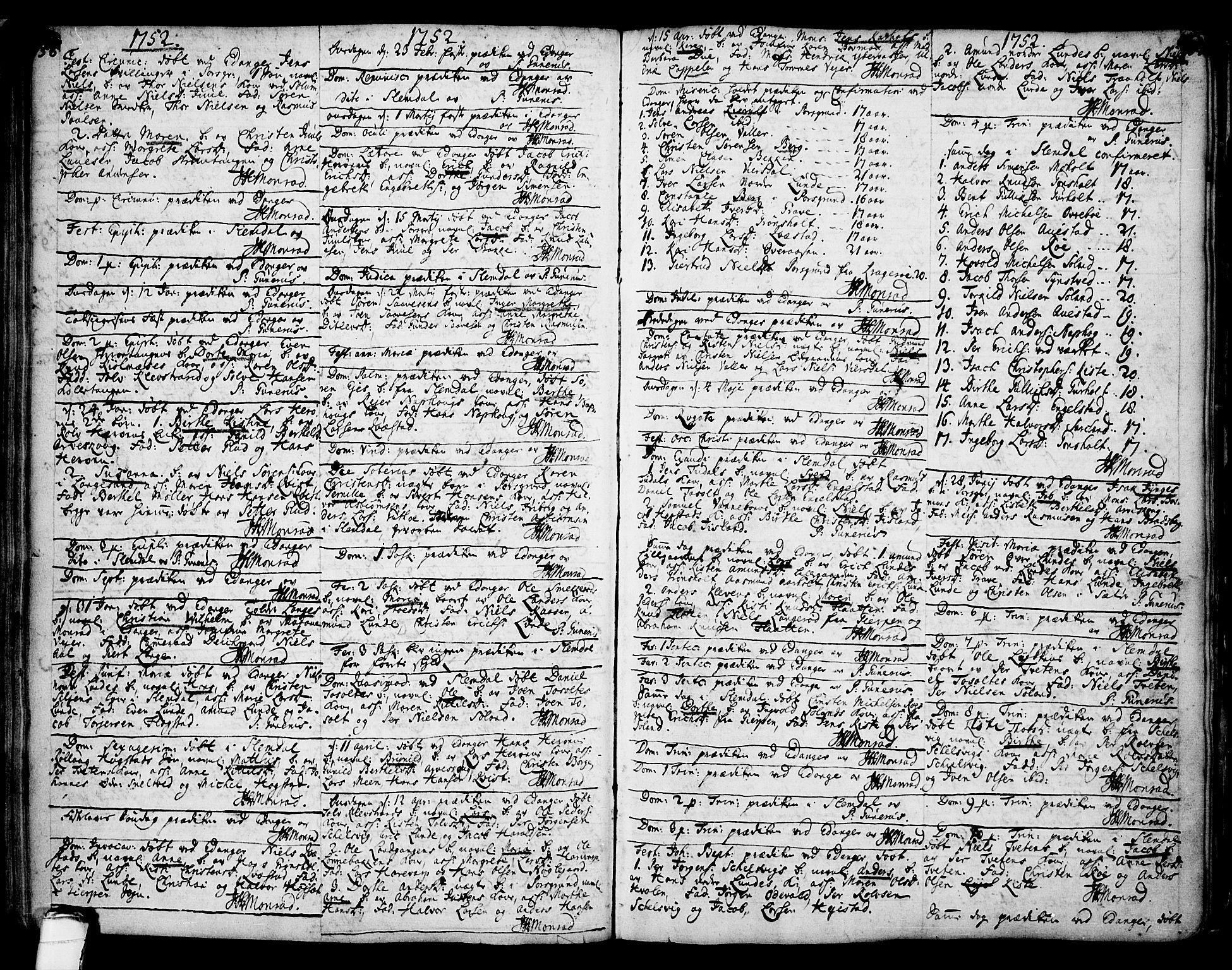 SAKO, Eidanger kirkebøker, F/Fa/L0004: Ministerialbok nr. 4, 1733-1759, s. 156-157