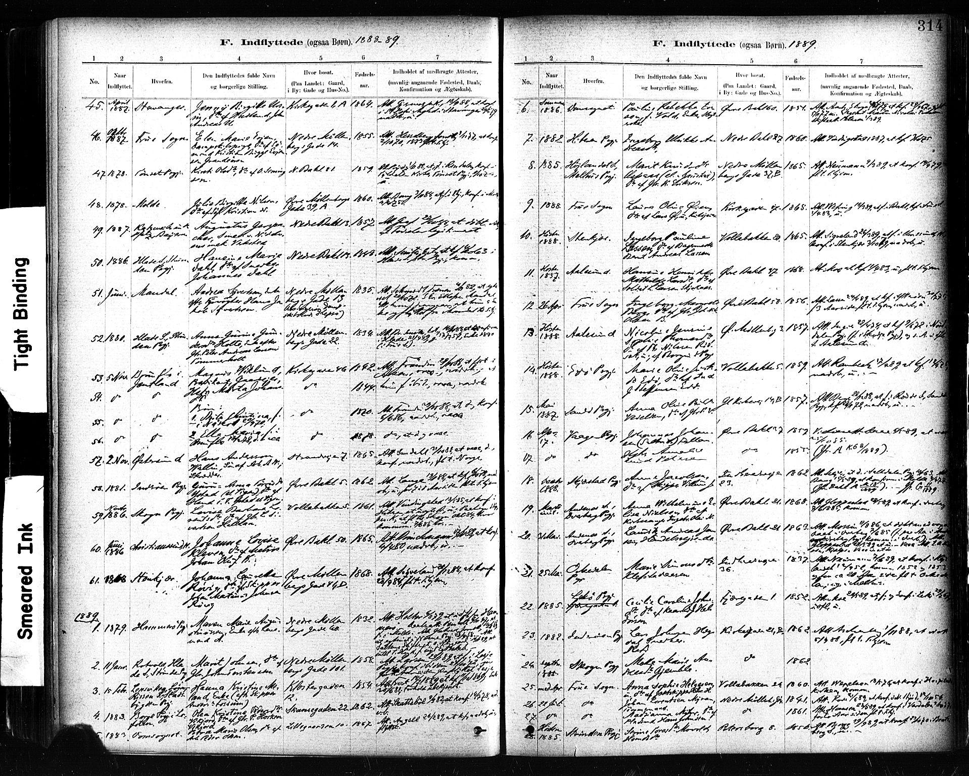 SAT, Ministerialprotokoller, klokkerbøker og fødselsregistre - Sør-Trøndelag, 604/L0189: Ministerialbok nr. 604A10, 1878-1892, s. 314