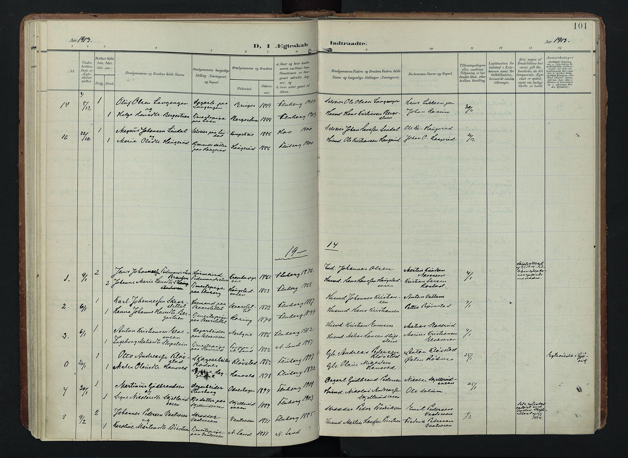 SAH, Søndre Land prestekontor, K/L0005: Ministerialbok nr. 5, 1905-1914, s. 101