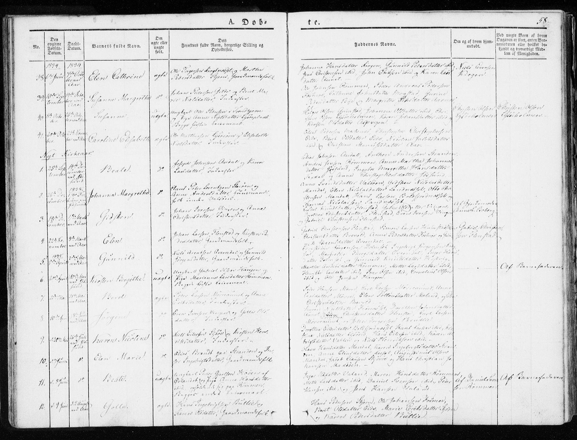 SAT, Ministerialprotokoller, klokkerbøker og fødselsregistre - Sør-Trøndelag, 655/L0676: Ministerialbok nr. 655A05, 1830-1847, s. 58