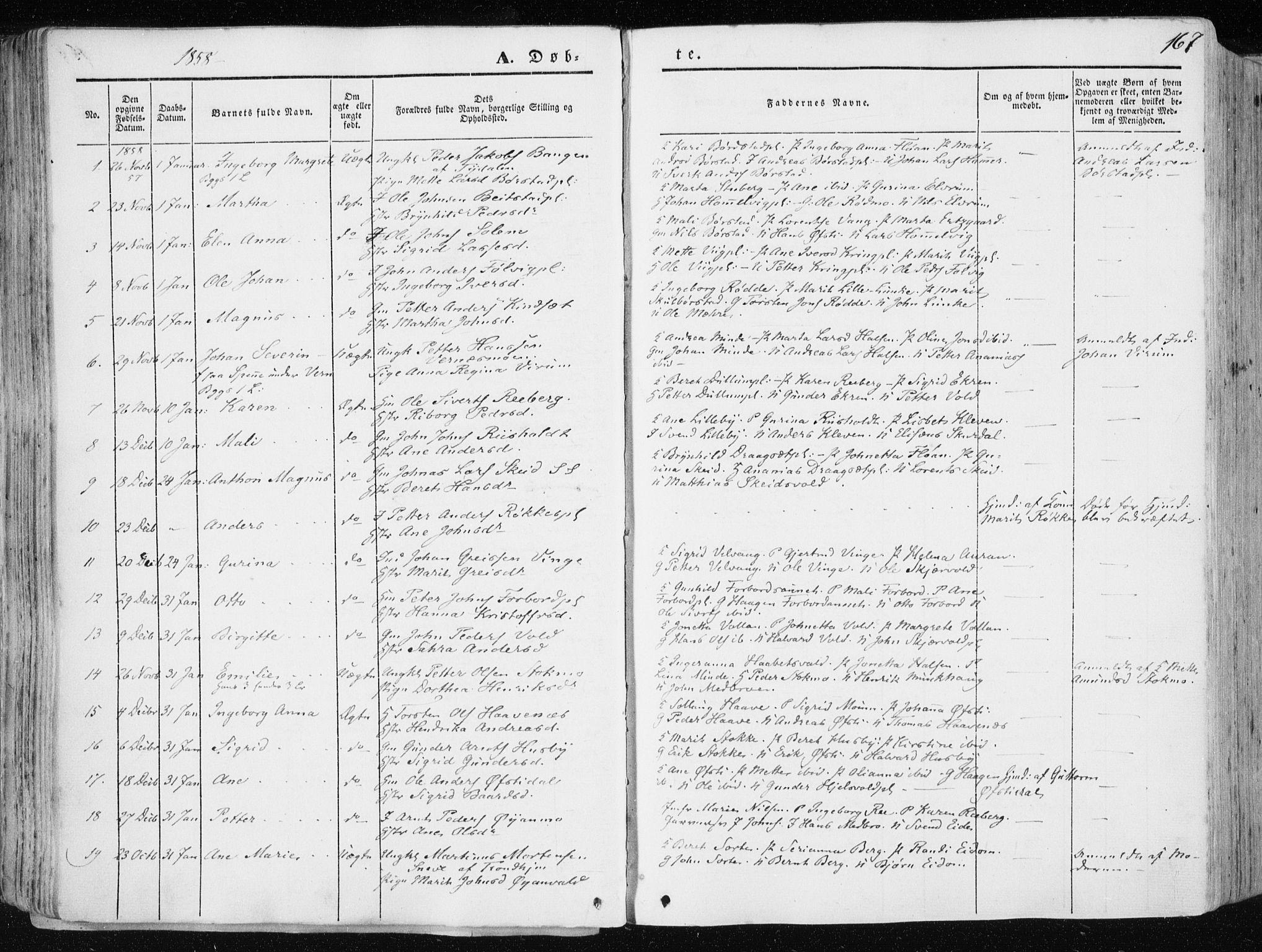 SAT, Ministerialprotokoller, klokkerbøker og fødselsregistre - Nord-Trøndelag, 709/L0074: Ministerialbok nr. 709A14, 1845-1858, s. 167