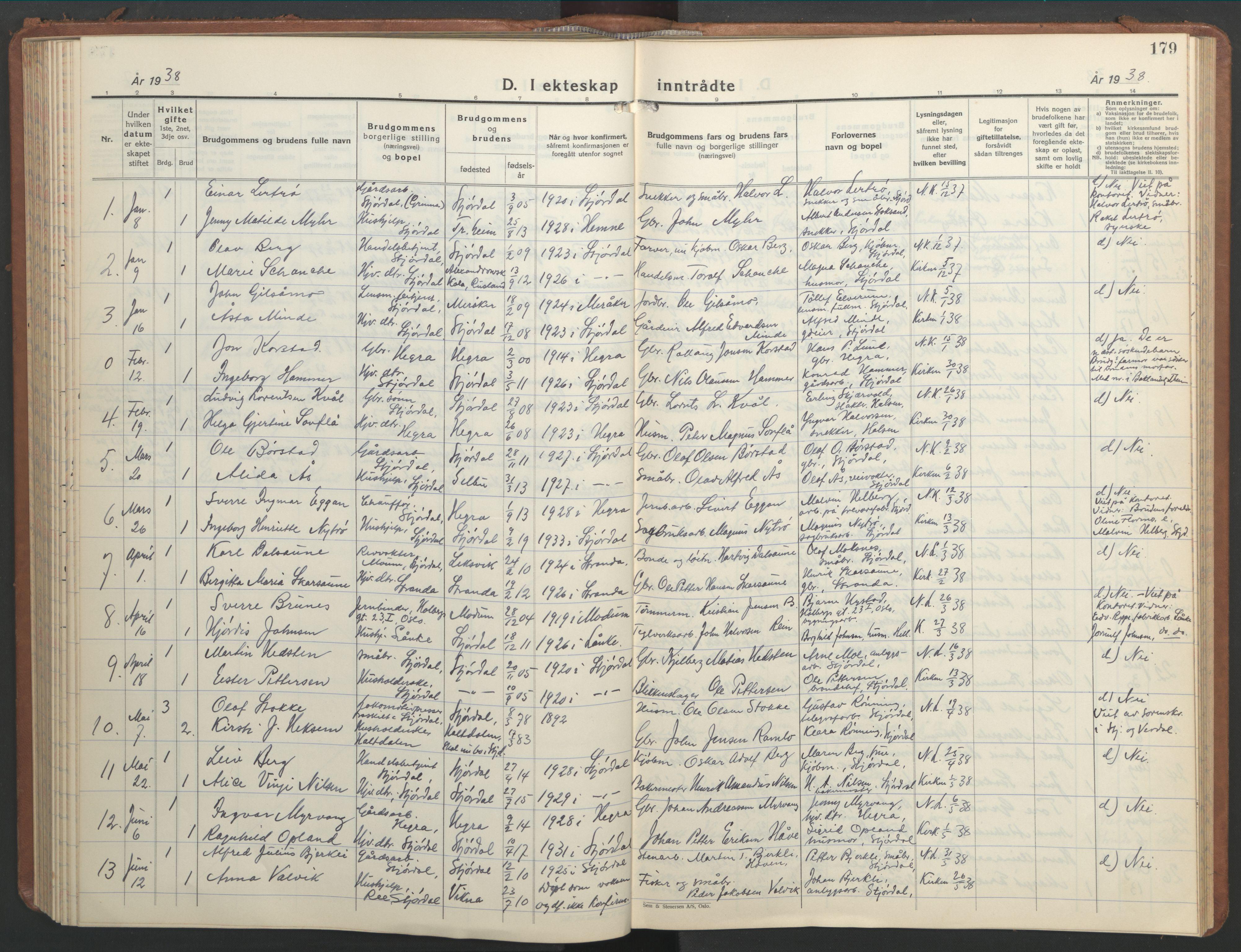 SAT, Ministerialprotokoller, klokkerbøker og fødselsregistre - Nord-Trøndelag, 709/L0089: Klokkerbok nr. 709C03, 1935-1948, s. 179