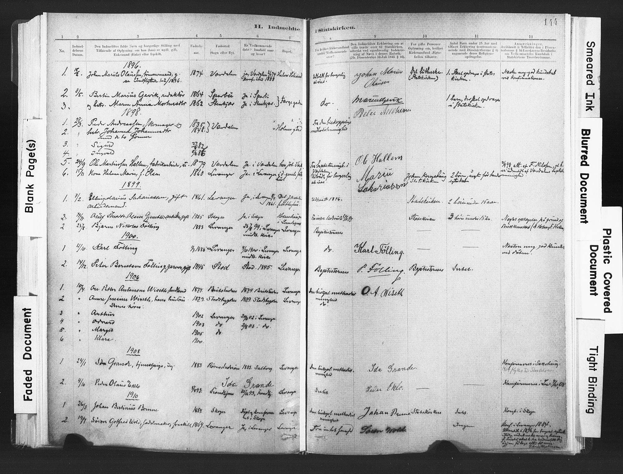 SAT, Ministerialprotokoller, klokkerbøker og fødselsregistre - Nord-Trøndelag, 720/L0189: Ministerialbok nr. 720A05, 1880-1911, s. 144