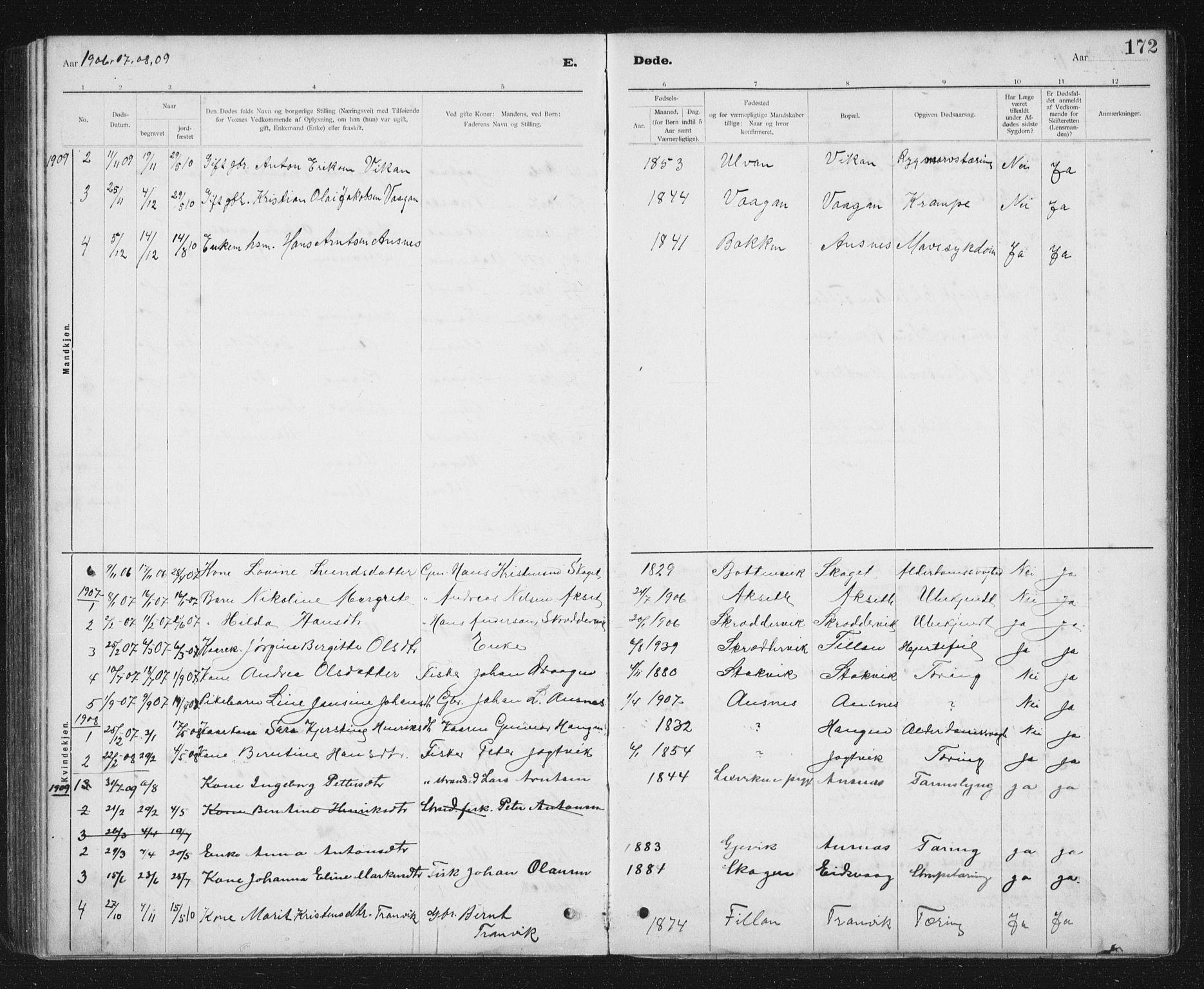 SAT, Ministerialprotokoller, klokkerbøker og fødselsregistre - Sør-Trøndelag, 637/L0563: Klokkerbok nr. 637C04, 1899-1940, s. 172