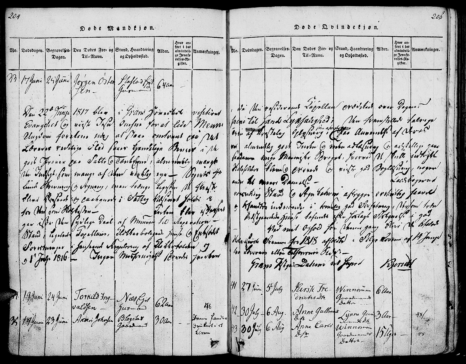 SAH, Gran prestekontor, Ministerialbok nr. 9, 1815-1824, s. 204-205