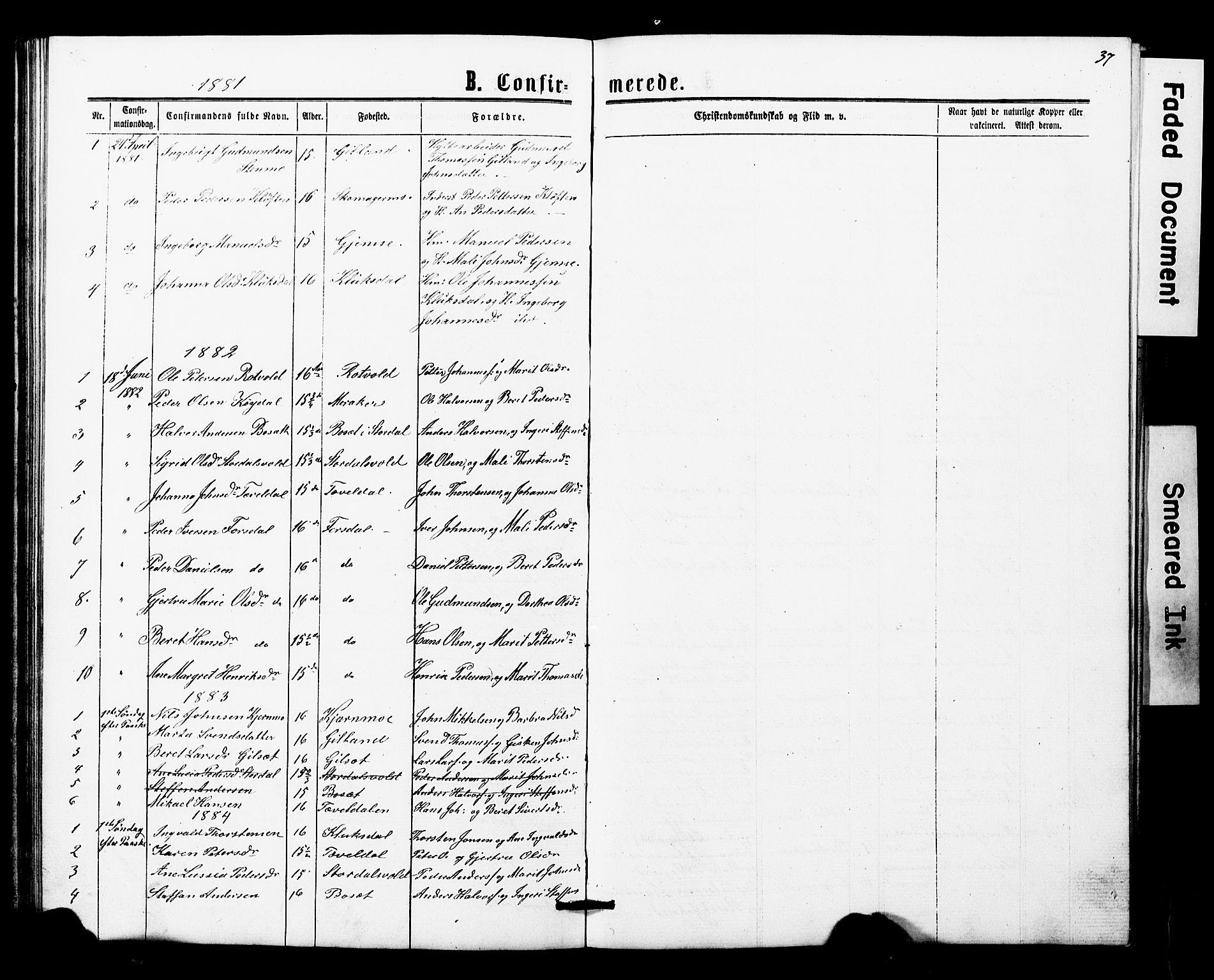 SAT, Ministerialprotokoller, klokkerbøker og fødselsregistre - Nord-Trøndelag, 707/L0052: Klokkerbok nr. 707C01, 1864-1897, s. 37