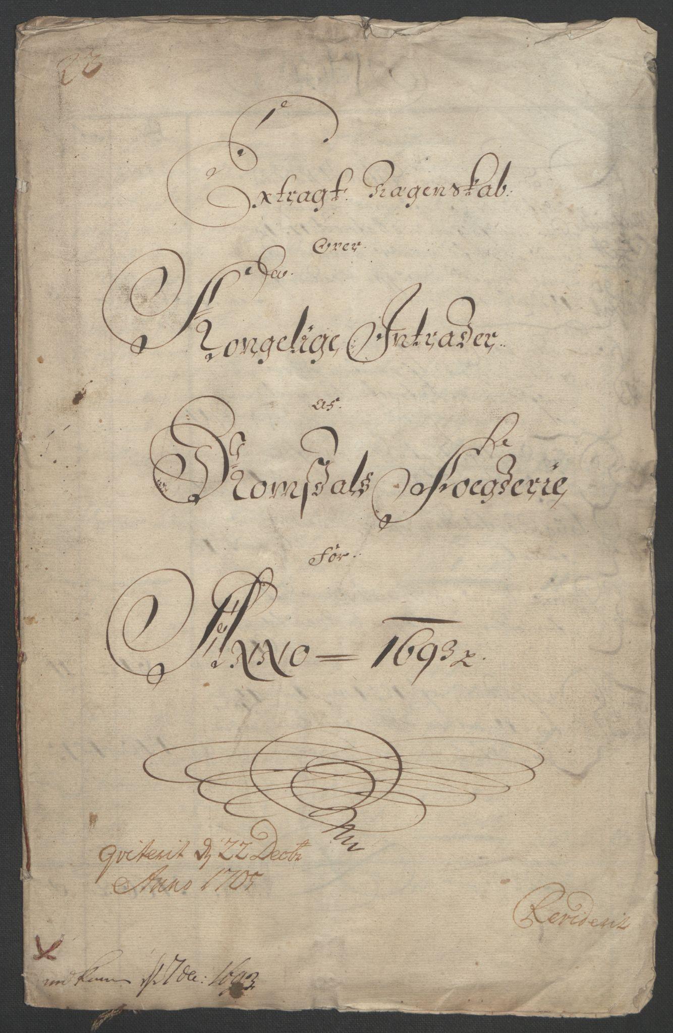 RA, Rentekammeret inntil 1814, Reviderte regnskaper, Fogderegnskap, R55/L3651: Fogderegnskap Romsdal, 1693-1694, s. 3