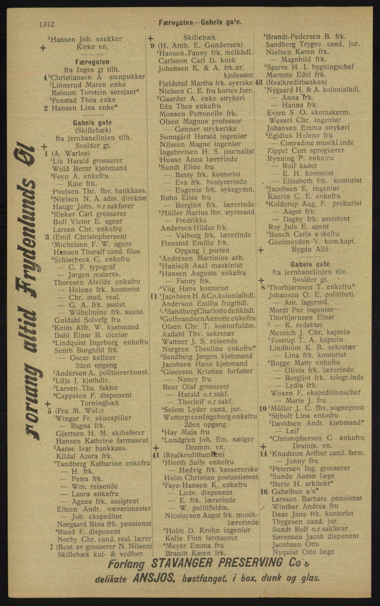 RA, Kristiania adressebok (publikasjon)*, 1913, s. 1312