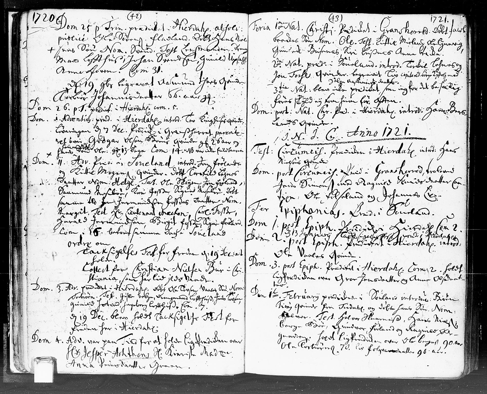 SAKO, Hjartdal kirkebøker, F/Fa/L0002: Ministerialbok nr. I 2, 1716-1754, s. 42-43