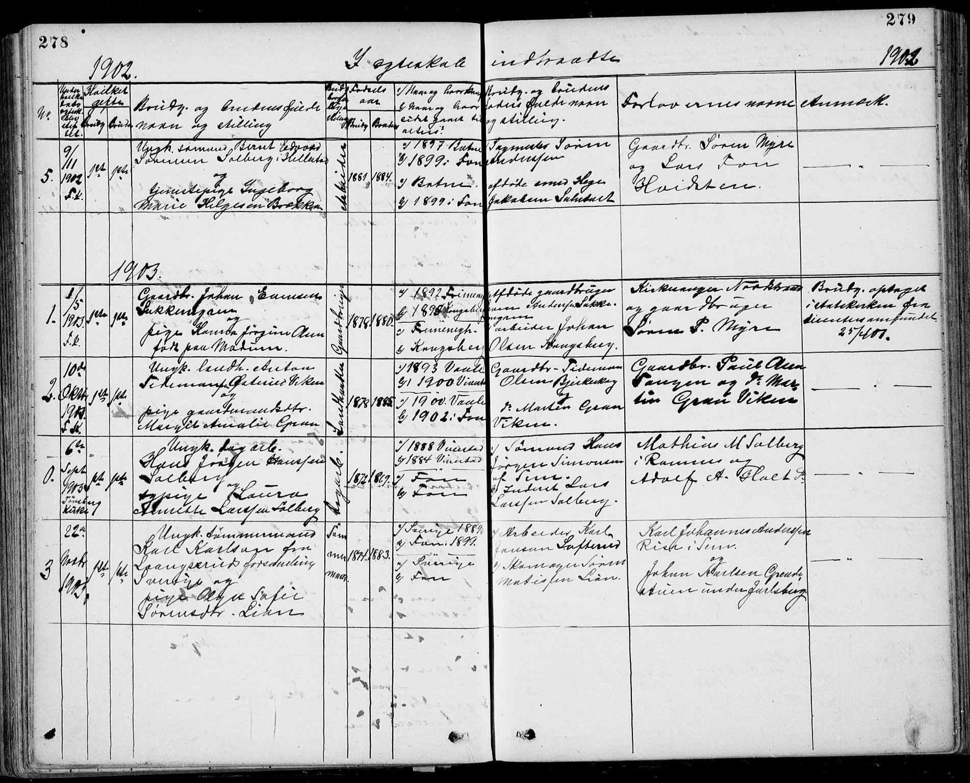 SAKO, Ramnes kirkebøker, G/Gb/L0001: Klokkerbok nr. II 1, 1869-1904, s. 278-279