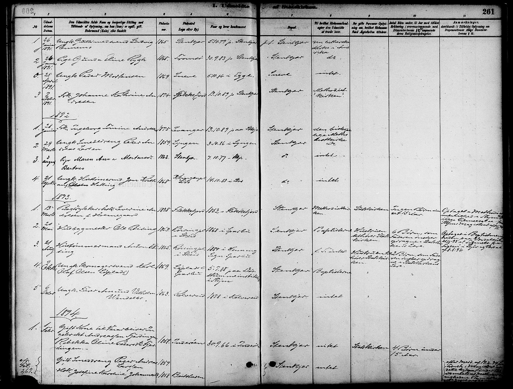 SAT, Ministerialprotokoller, klokkerbøker og fødselsregistre - Nord-Trøndelag, 739/L0371: Ministerialbok nr. 739A03, 1881-1895, s. 261
