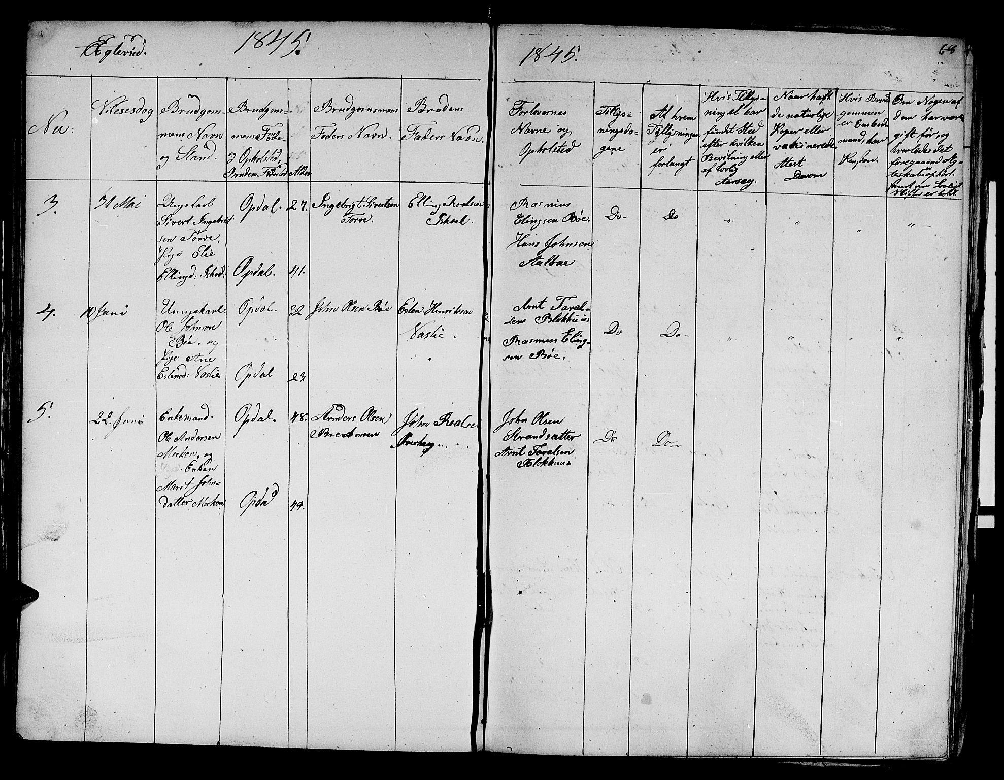 SAT, Ministerialprotokoller, klokkerbøker og fødselsregistre - Sør-Trøndelag, 679/L0922: Klokkerbok nr. 679C02, 1845-1851, s. 68