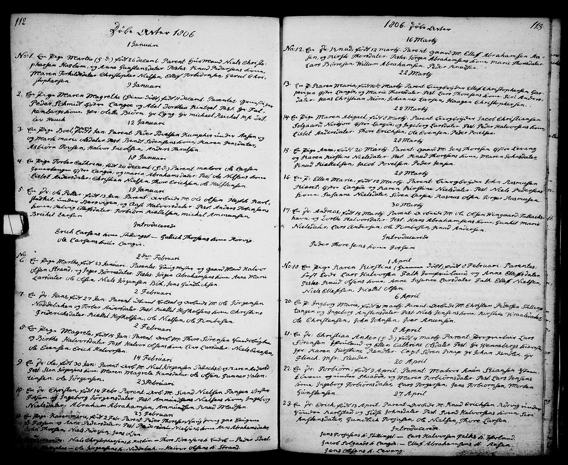 SAKO, Kragerø kirkebøker, G/Ga/L0001: Klokkerbok nr. 1 /2, 1806-1811, s. 112-113