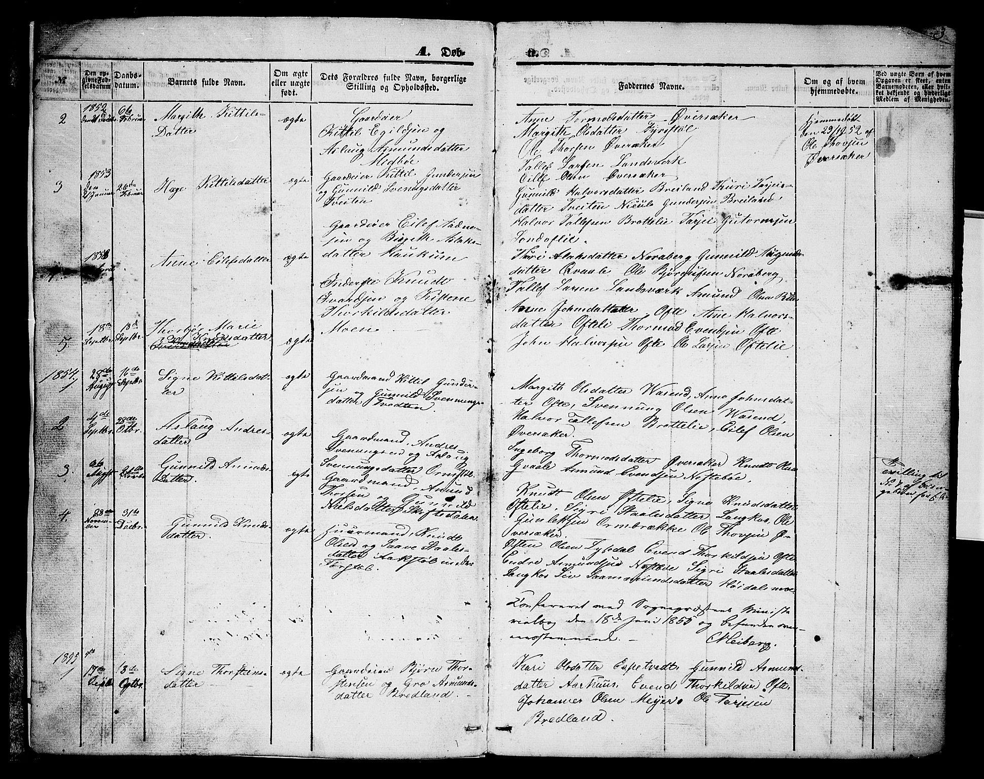 SAKO, Lårdal kirkebøker, G/Gc/L0002: Klokkerbok nr. III 2, 1852-1877, s. 3