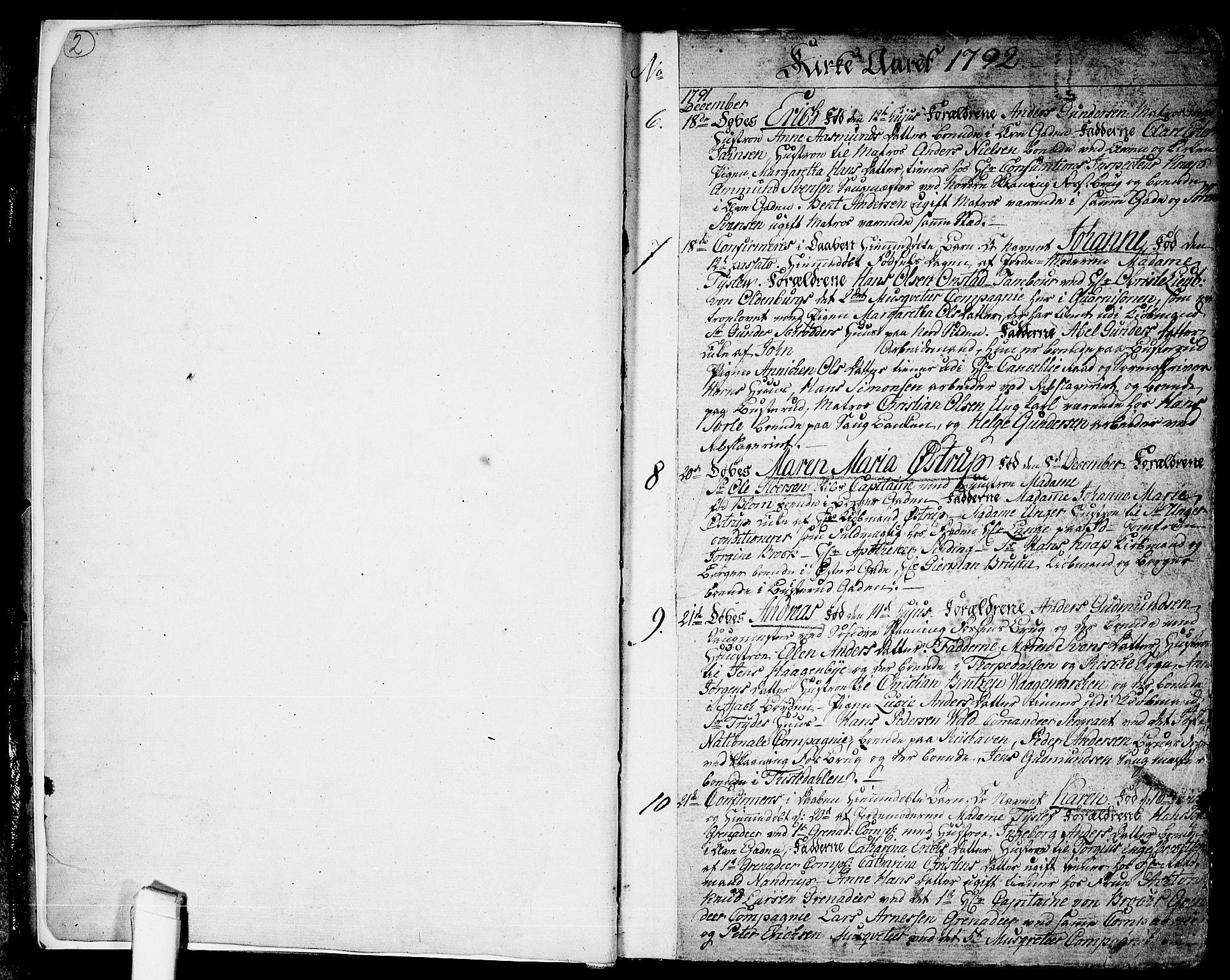 SAO, Halden prestekontor Kirkebøker, F/Fa/L0002: Ministerialbok nr. I 2, 1792-1812, s. 2-3