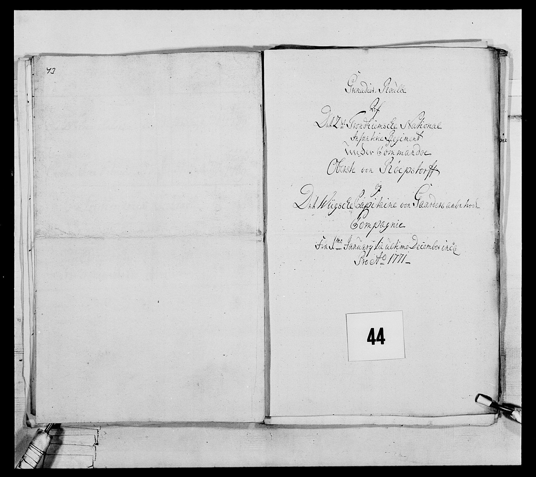 RA, Generalitets- og kommissariatskollegiet, Det kongelige norske kommissariatskollegium, E/Eh/L0076: 2. Trondheimske nasjonale infanteriregiment, 1766-1773, s. 140