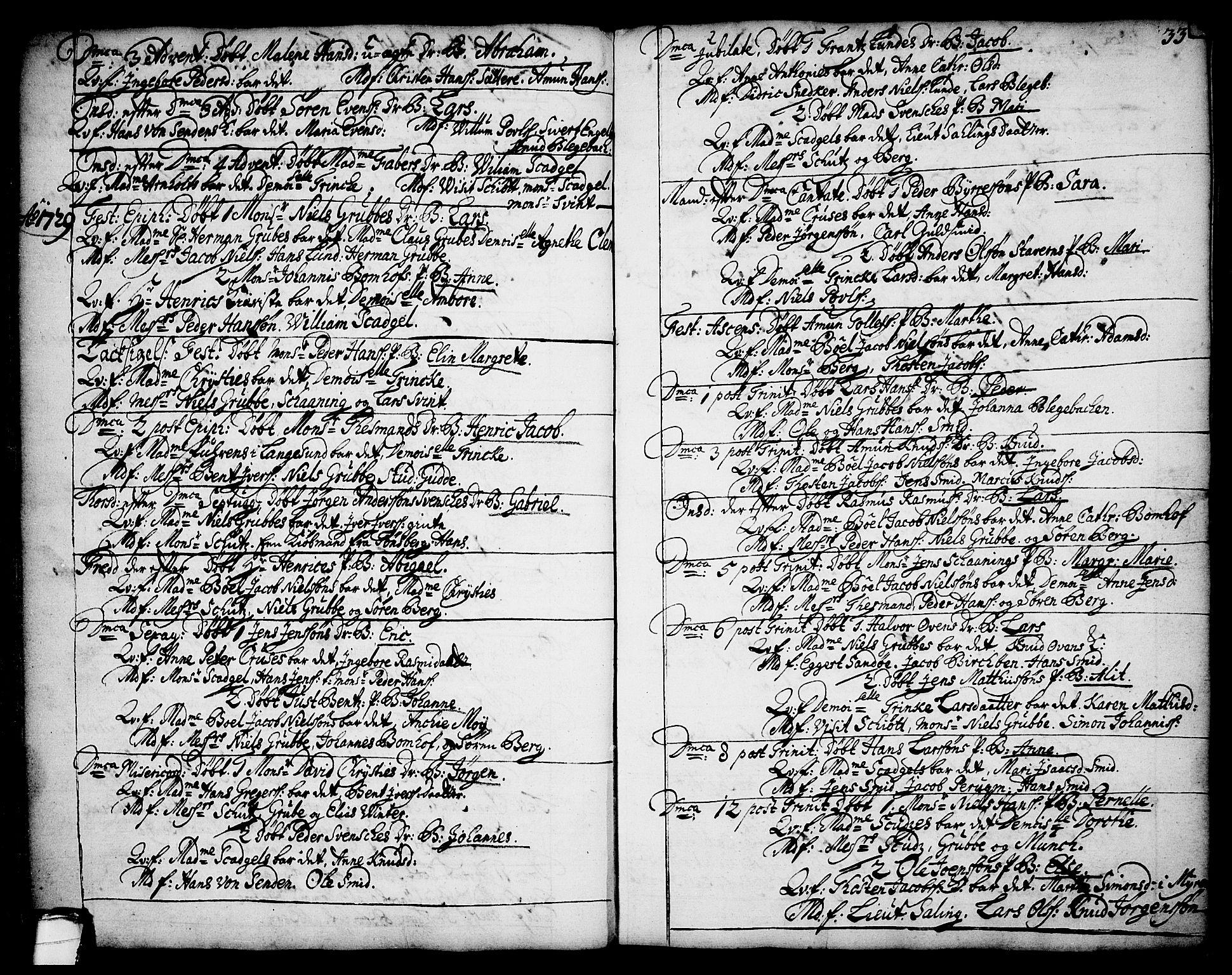 SAKO, Brevik kirkebøker, F/Fa/L0002: Ministerialbok nr. 2, 1720-1764, s. 33