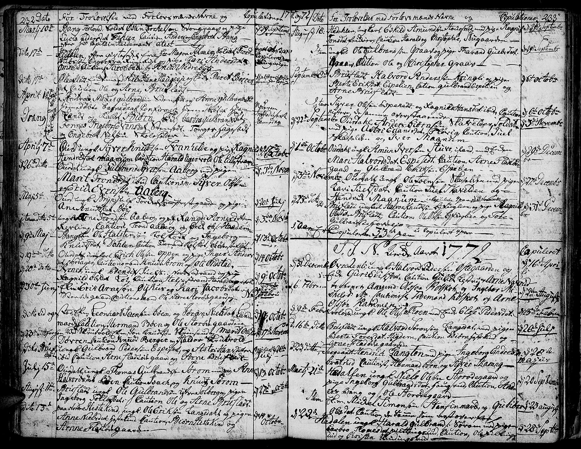 SAH, Aurdal prestekontor, Ministerialbok nr. 5, 1763-1781, s. 232-233