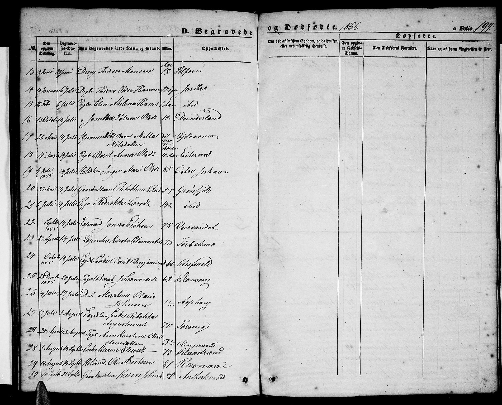 SAT, Ministerialprotokoller, klokkerbøker og fødselsregistre - Nordland, 827/L0414: Klokkerbok nr. 827C03, 1853-1865, s. 194