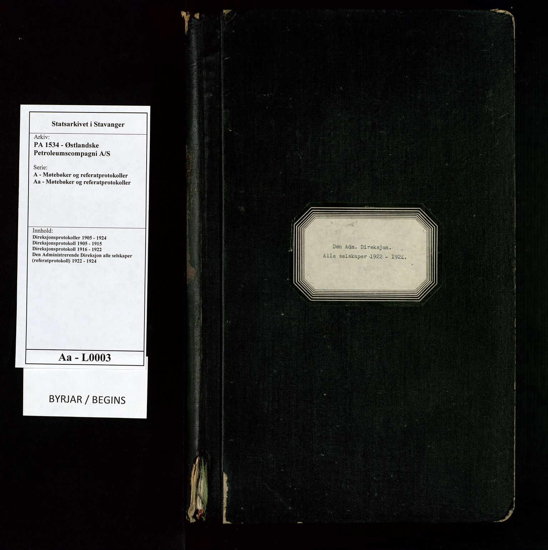 SAST, PA 1534 - Østlandske Petroleumscompagni A/S, A/Aa/L0003: Direksjonsprotokoller, 1922-1924, s. upaginert