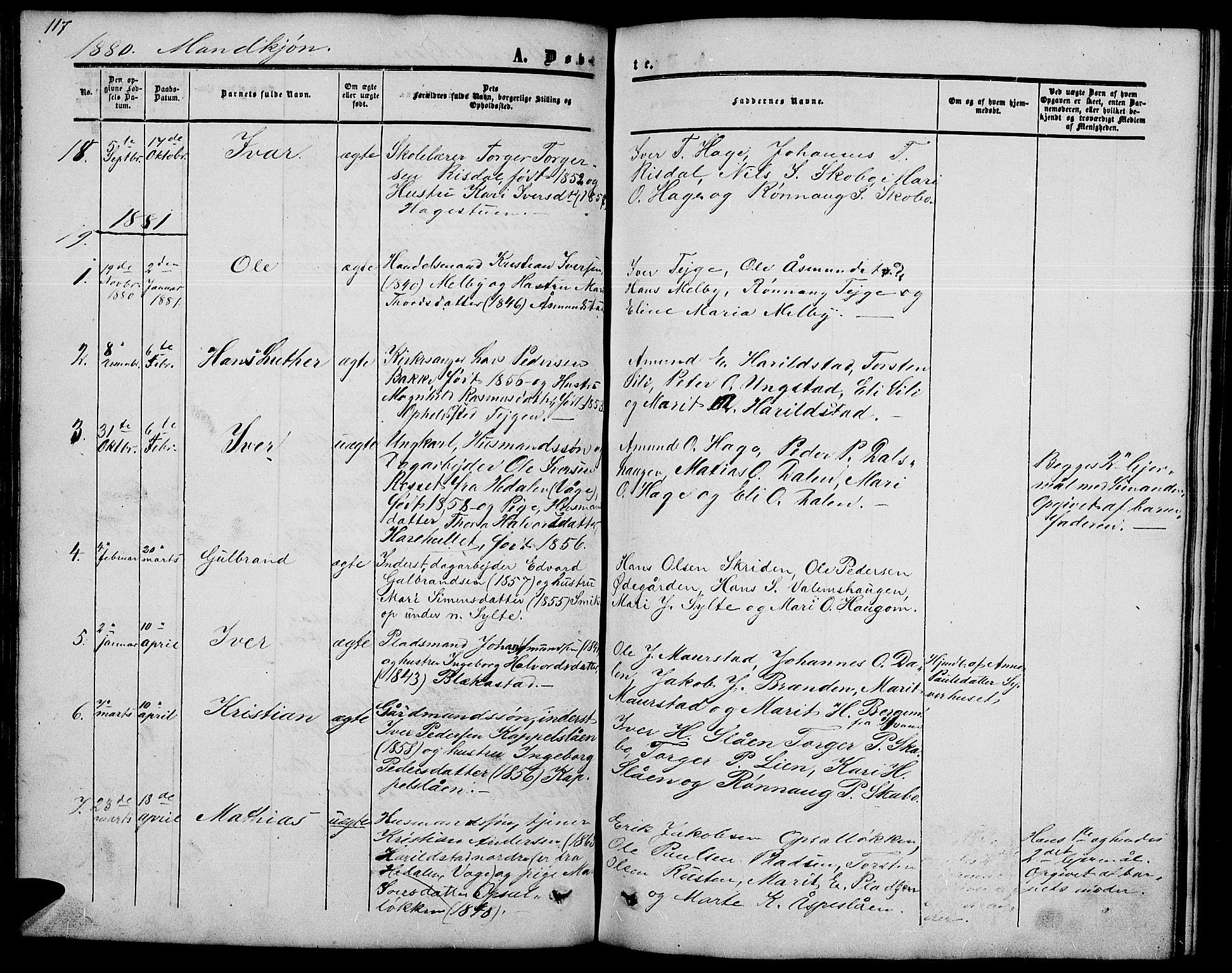 SAH, Nord-Fron prestekontor, Klokkerbok nr. 2, 1851-1883, s. 117
