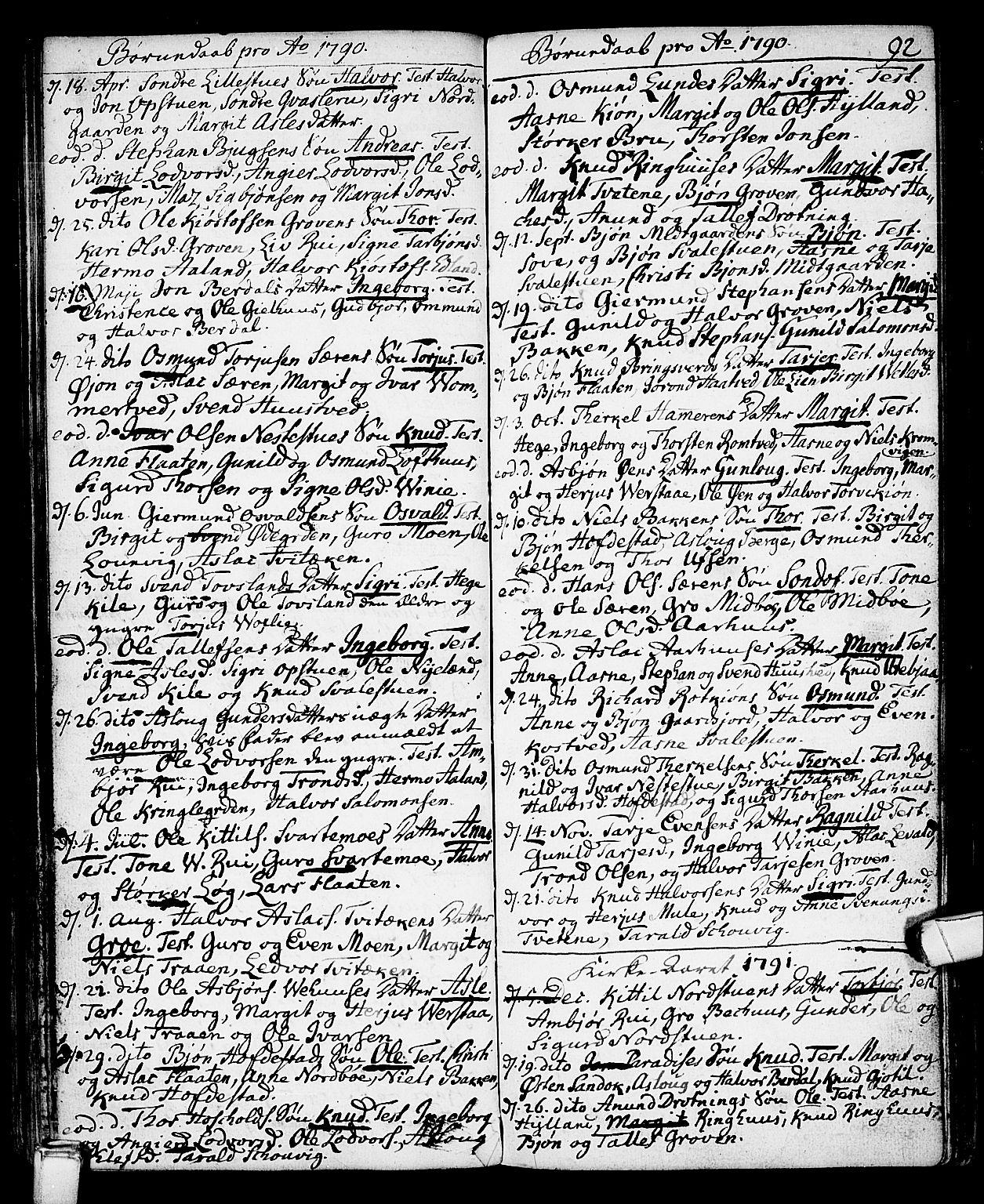 SAKO, Vinje kirkebøker, F/Fa/L0002: Ministerialbok nr. I 2, 1767-1814, s. 92