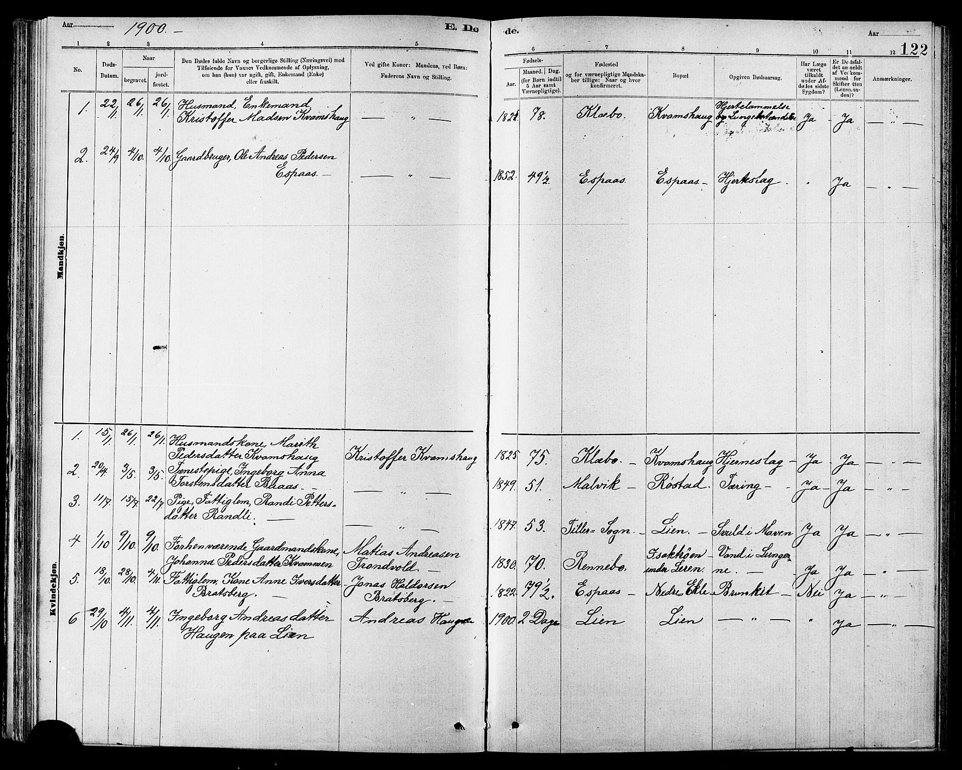 SAT, Ministerialprotokoller, klokkerbøker og fødselsregistre - Sør-Trøndelag, 608/L0341: Klokkerbok nr. 608C07, 1890-1912, s. 122