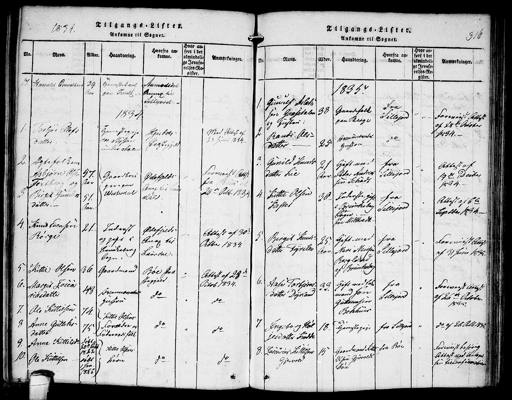 SAKO, Kviteseid kirkebøker, F/Fb/L0001: Ministerialbok nr. II 1, 1815-1836, s. 316