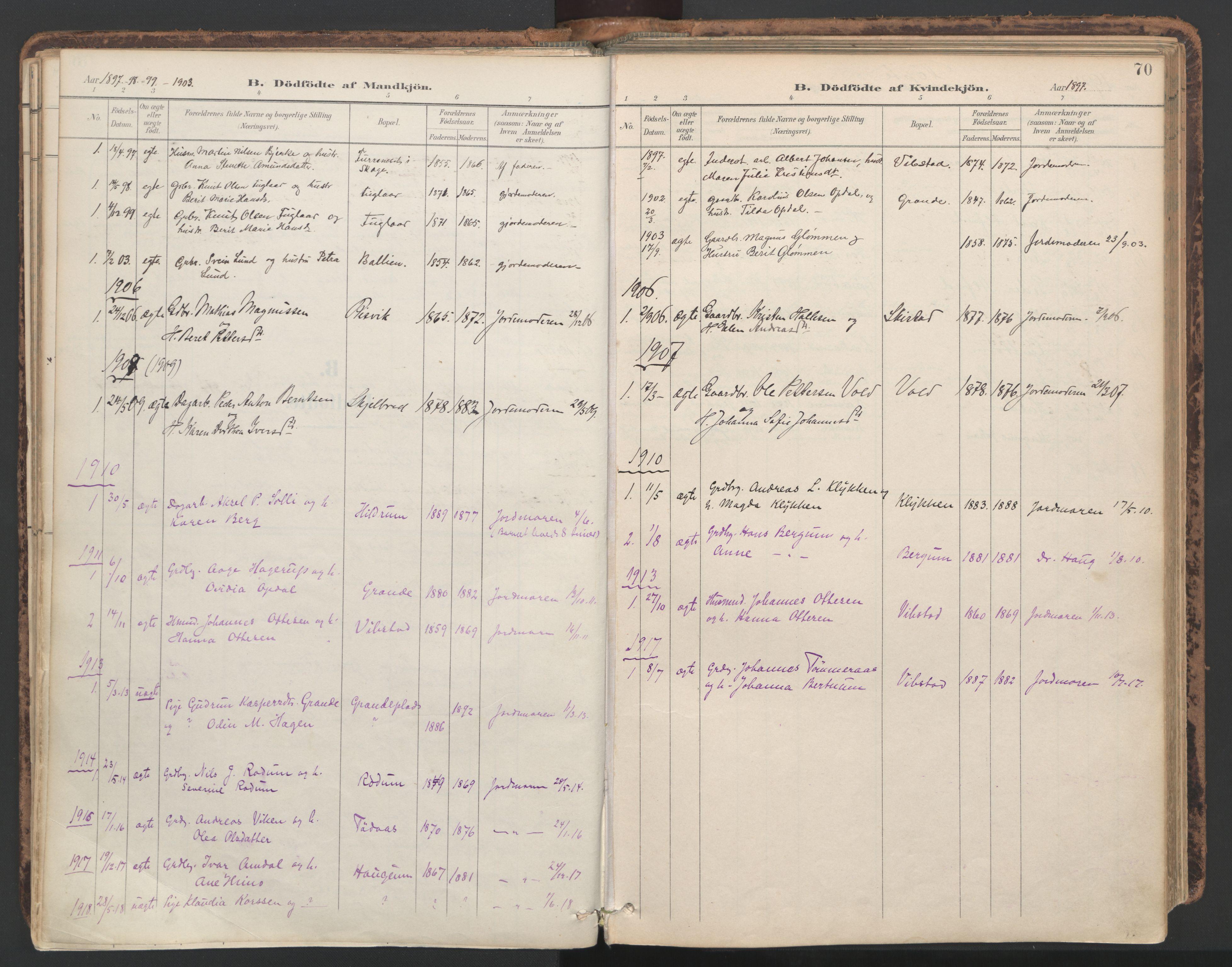 SAT, Ministerialprotokoller, klokkerbøker og fødselsregistre - Nord-Trøndelag, 764/L0556: Ministerialbok nr. 764A11, 1897-1924, s. 70