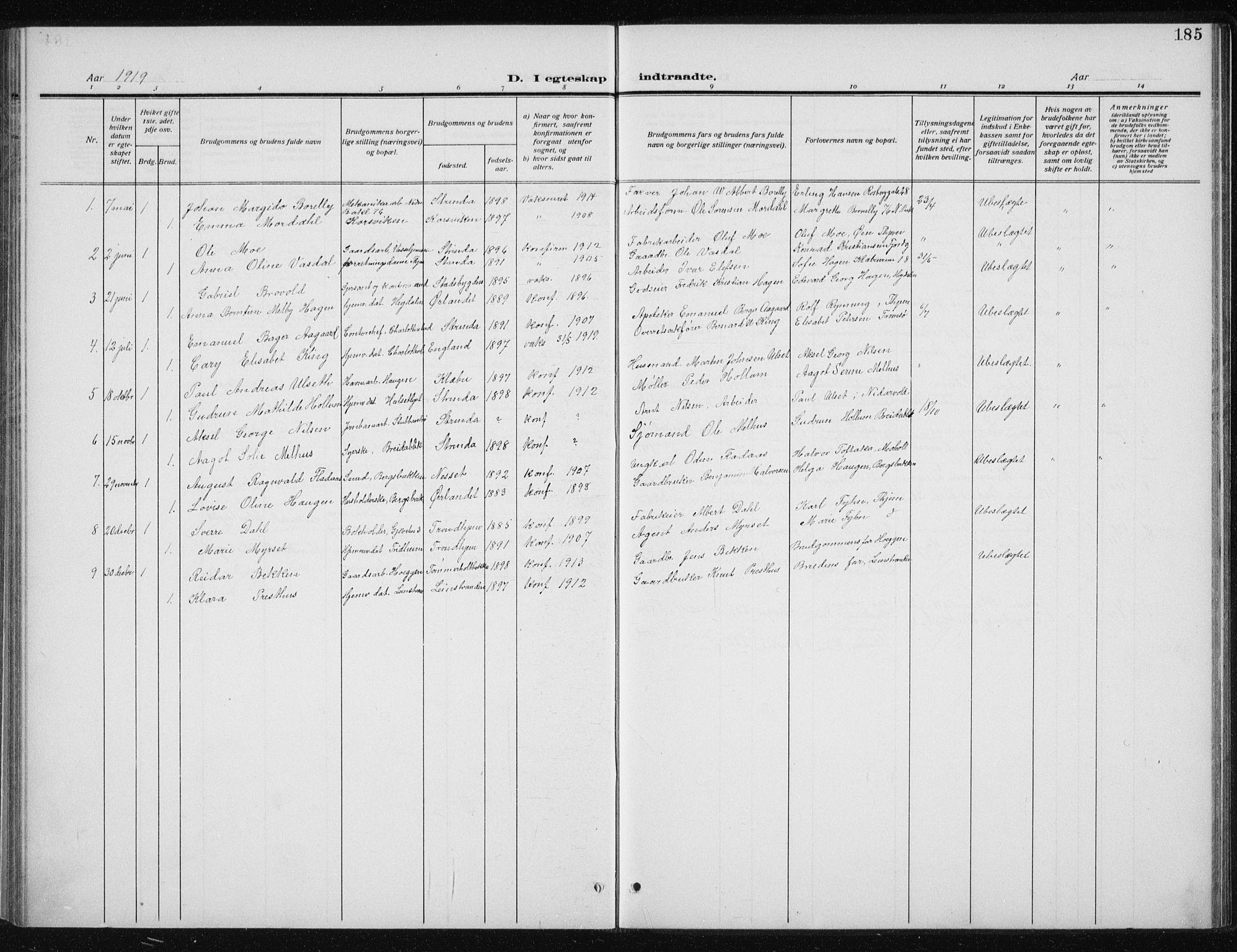 SAT, Ministerialprotokoller, klokkerbøker og fødselsregistre - Sør-Trøndelag, 606/L0314: Klokkerbok nr. 606C10, 1911-1937, s. 185