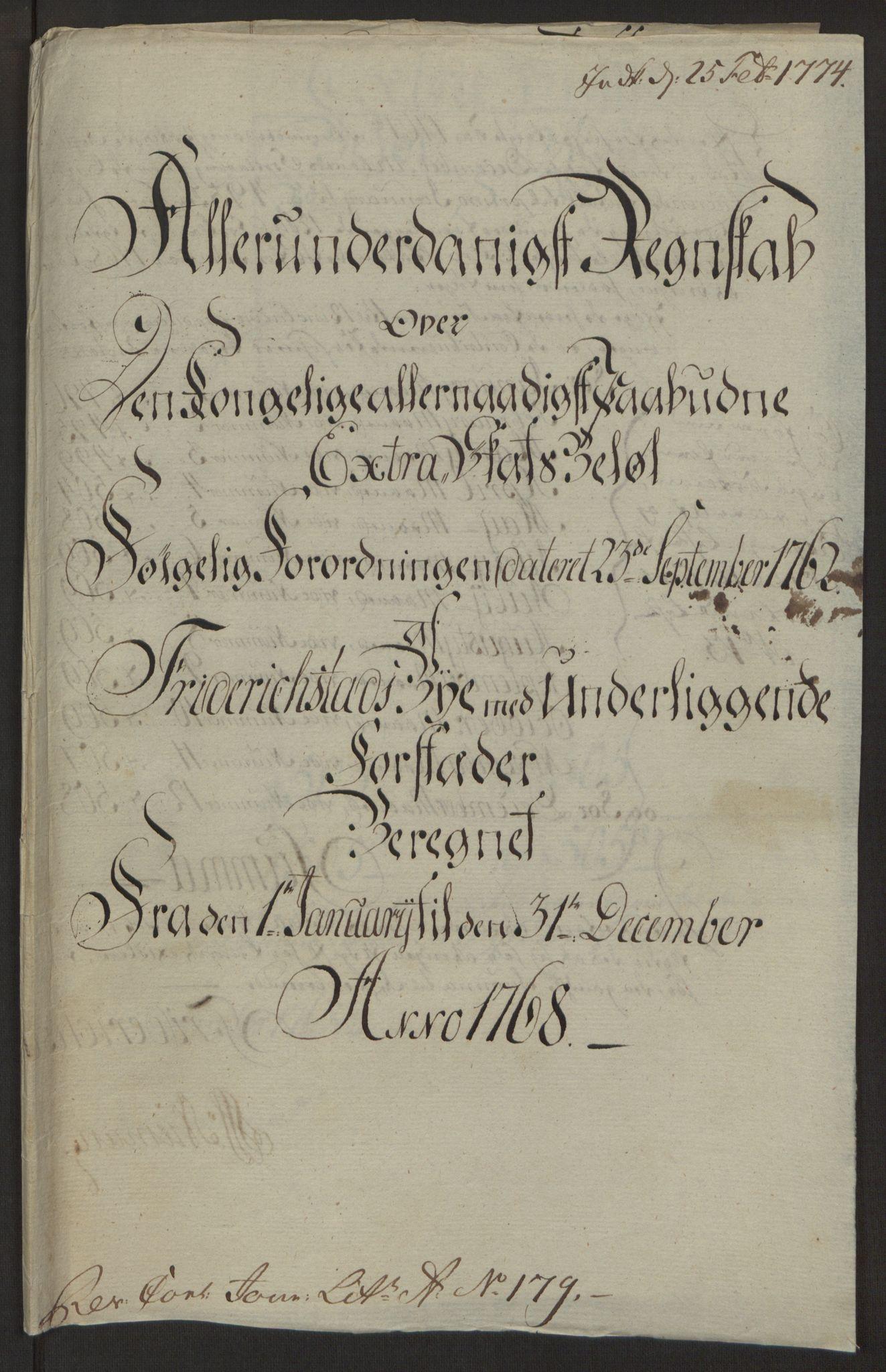 RA, Rentekammeret inntil 1814, Reviderte regnskaper, Byregnskaper, R/Rb/L0029: [B3] Kontribusjonsregnskap, 1762-1772, s. 275