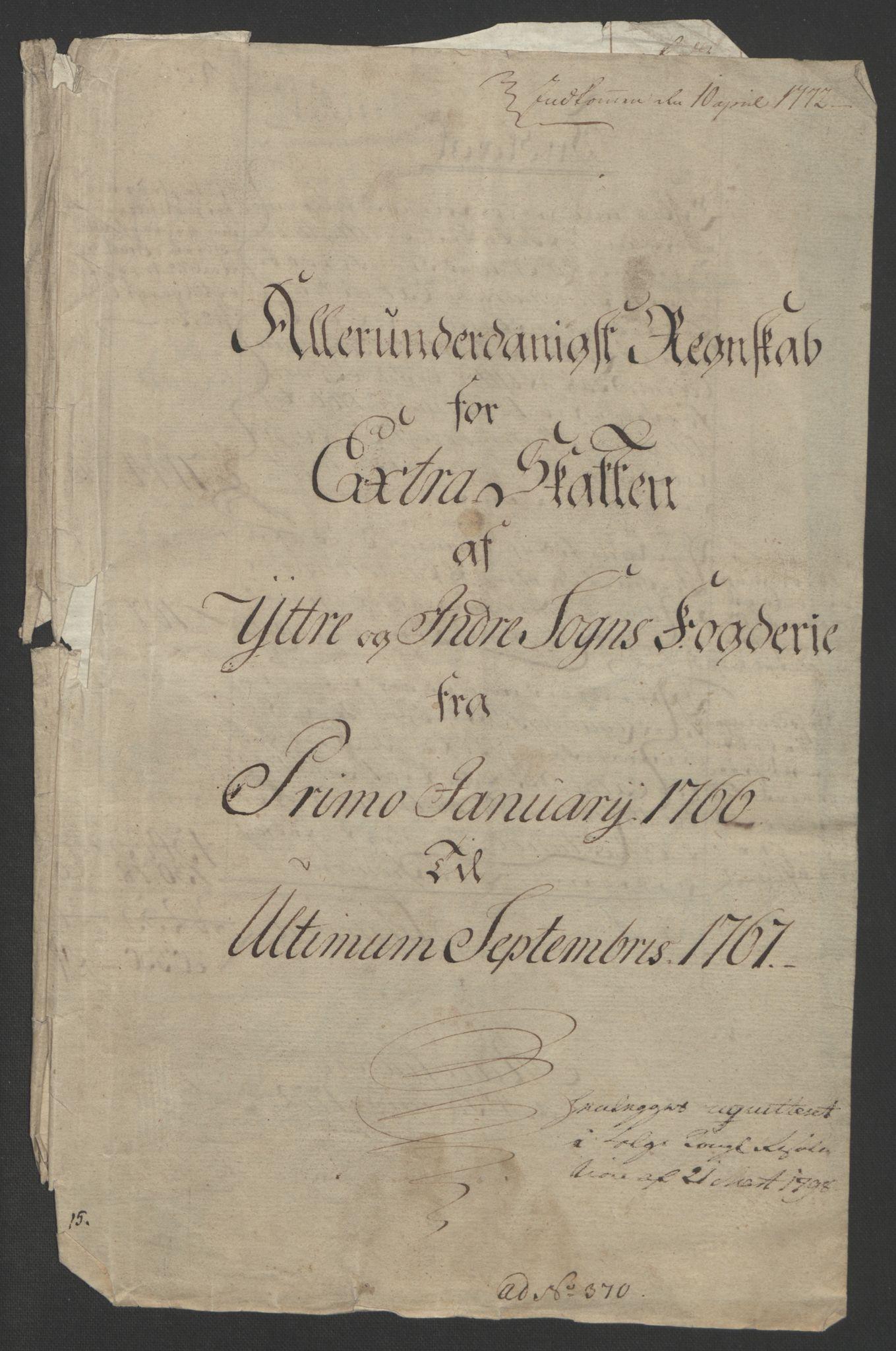RA, Rentekammeret inntil 1814, Realistisk ordnet avdeling, Ol/L0018: [Gg 10]: Ekstraskatten, 23.09.1762. Sogn, 1762-1772, s. 131