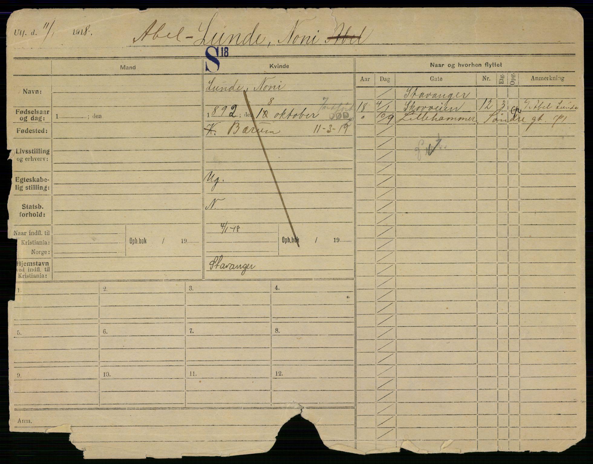 SAO, Oslo folkeregister, Registerkort, G/Gb/L0029: Kvinner, 1919