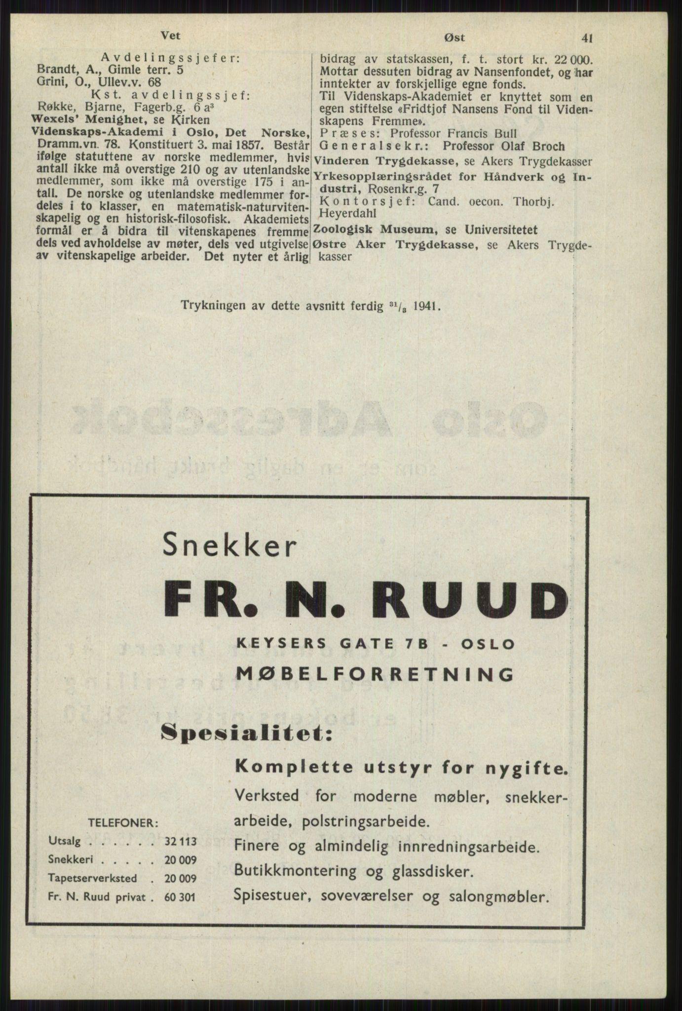 RA, Oslo adressebok (publikasjon)*, 1941, s. 41