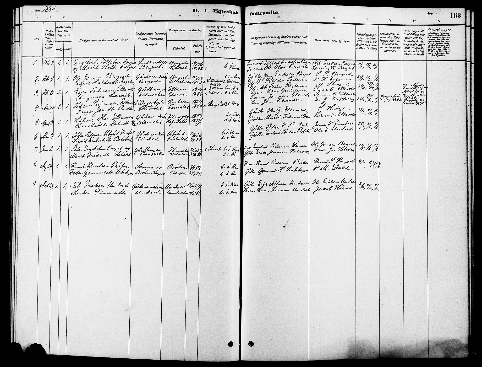 SAH, Rendalen prestekontor, H/Ha/Hab/L0003: Klokkerbok nr. 3, 1879-1904, s. 163