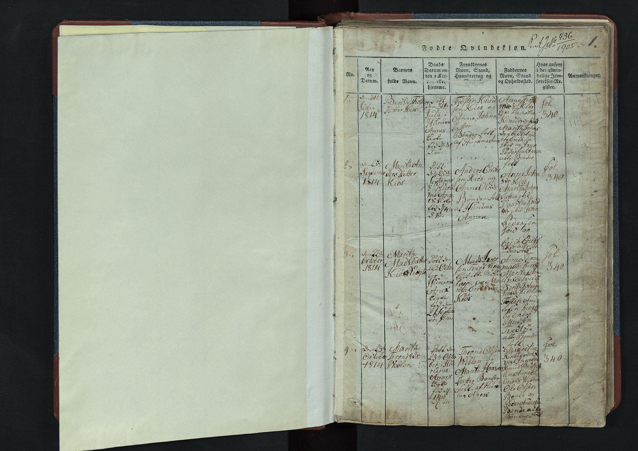 SAH, Vang prestekontor, Valdres, Klokkerbok nr. 3, 1814-1892, s. 1