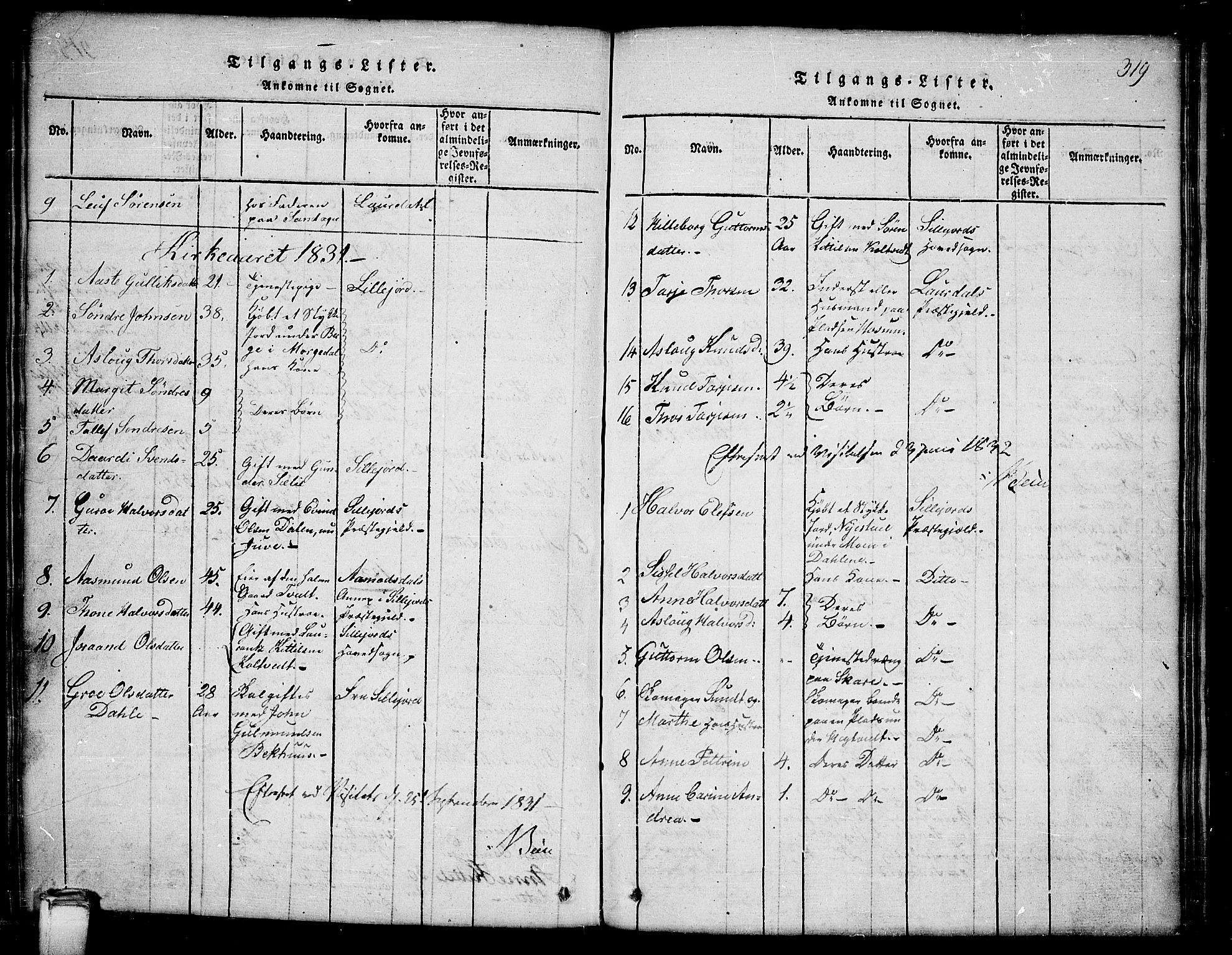 SAKO, Kviteseid kirkebøker, G/Gb/L0001: Klokkerbok nr. II 1, 1815-1842, s. 319
