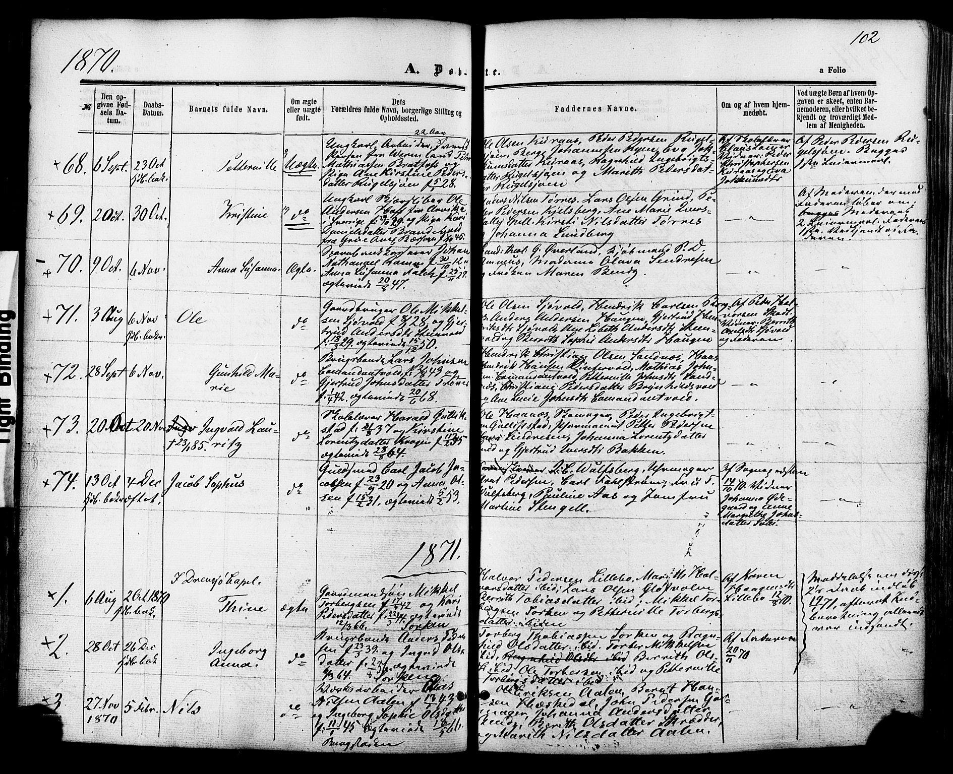 SAT, Ministerialprotokoller, klokkerbøker og fødselsregistre - Sør-Trøndelag, 681/L0932: Ministerialbok nr. 681A10, 1860-1878, s. 102
