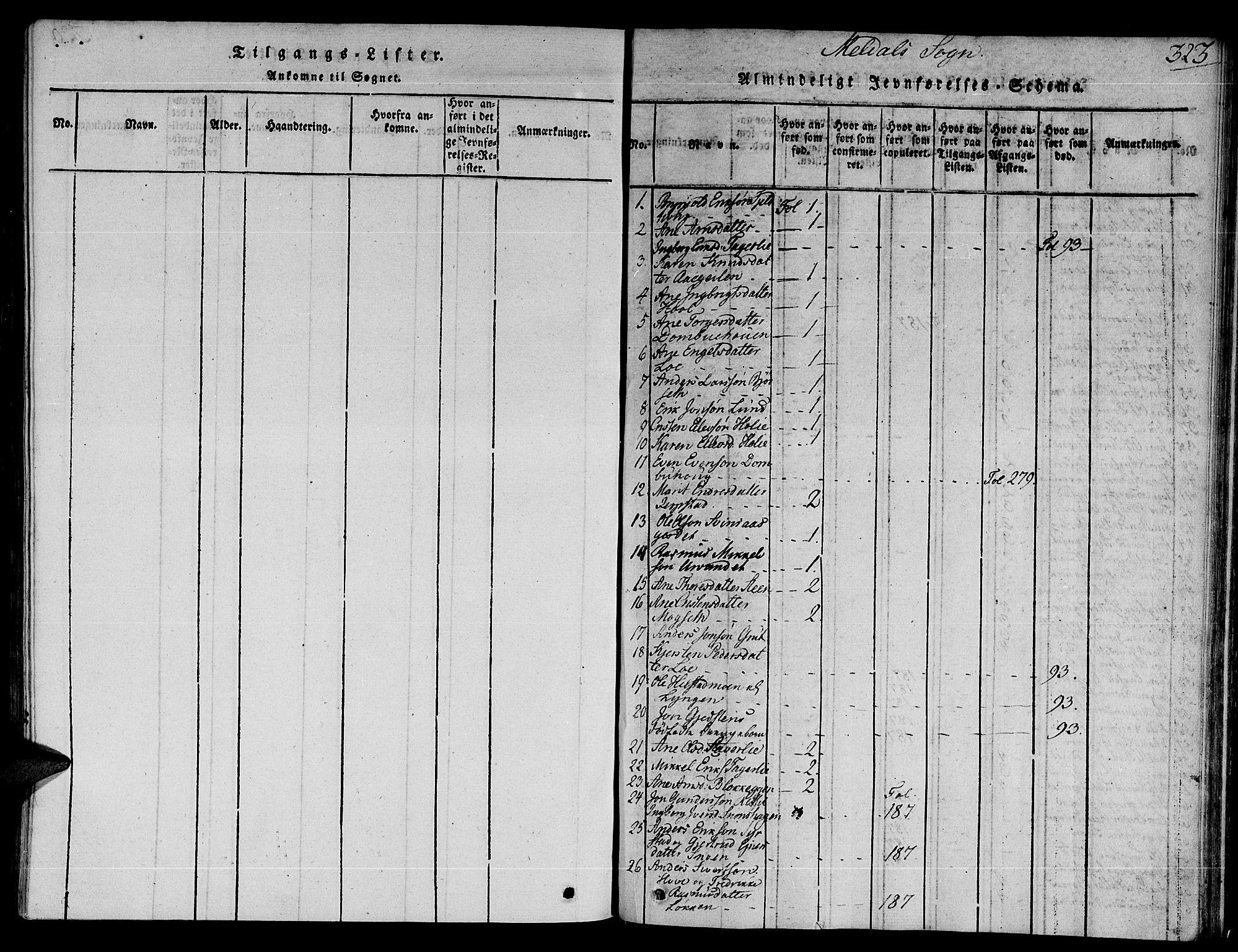 SAT, Ministerialprotokoller, klokkerbøker og fødselsregistre - Sør-Trøndelag, 672/L0853: Ministerialbok nr. 672A06 /1, 1816-1829, s. 323