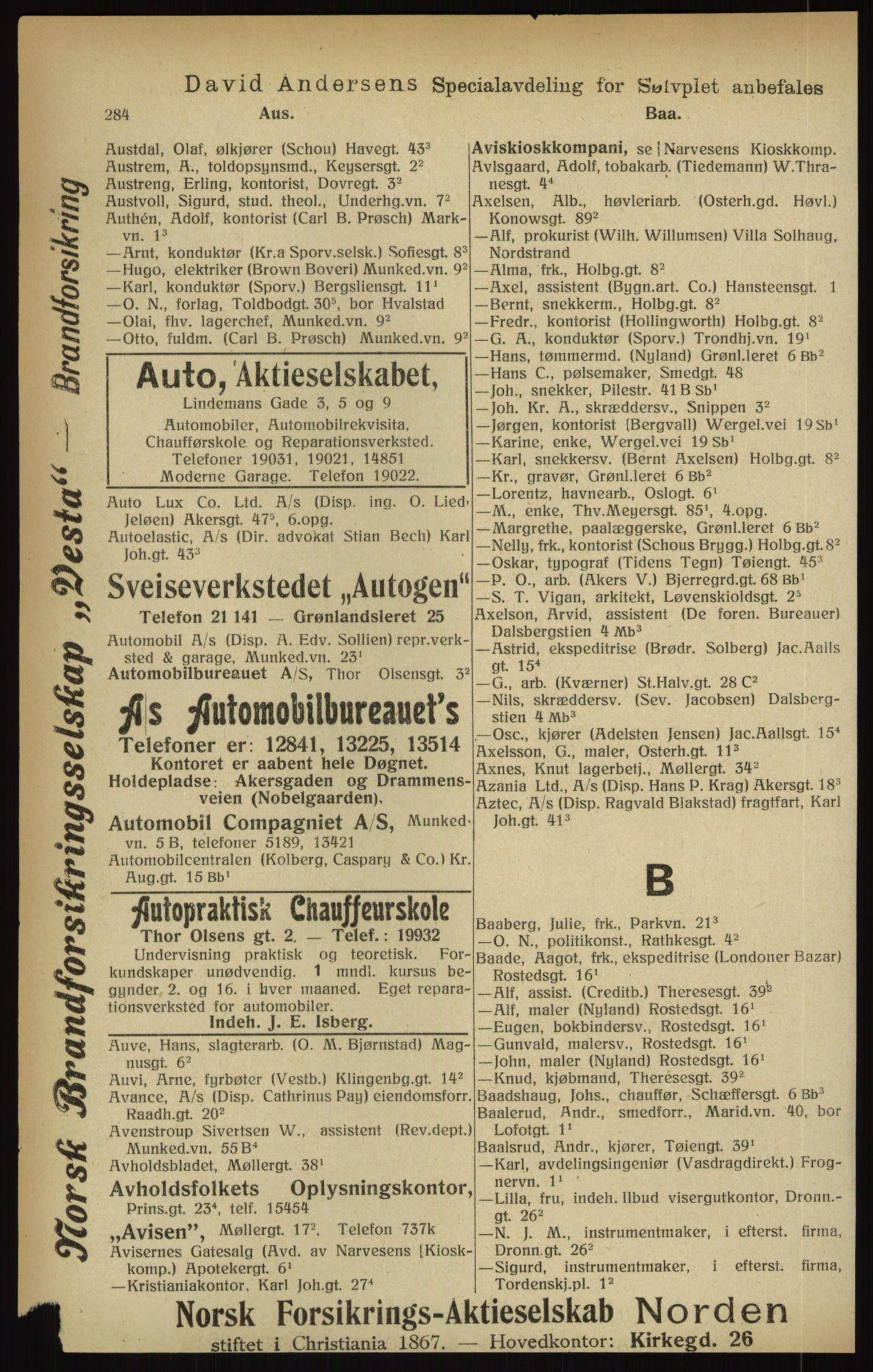 RA, Kristiania adressebok (publikasjon)*, 1916, s. 284