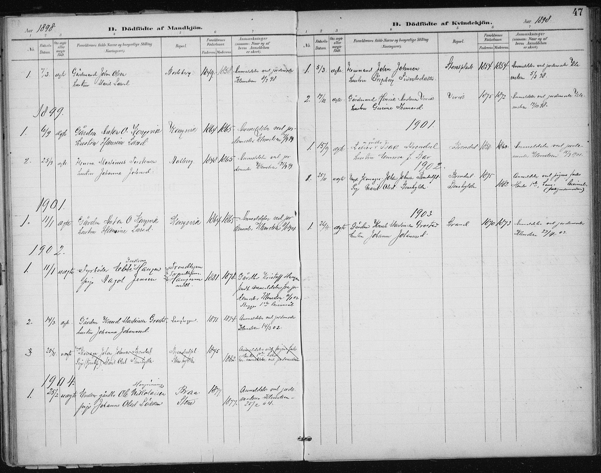 SAT, Ministerialprotokoller, klokkerbøker og fødselsregistre - Sør-Trøndelag, 612/L0380: Ministerialbok nr. 612A12, 1898-1907, s. 47