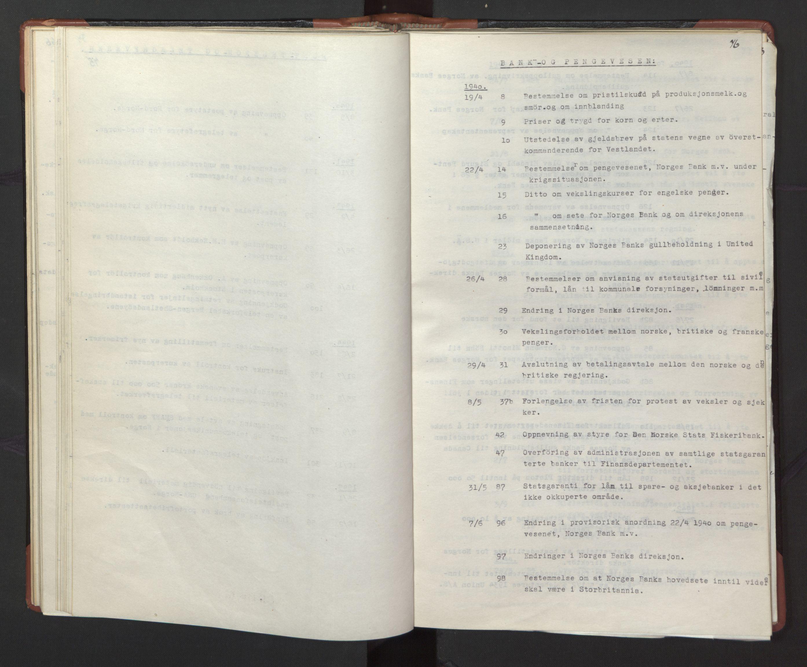 RA, Statsrådssekretariatet, A/Ac/L0127: Register 9/4-25/5, 1940-1945, s. 76