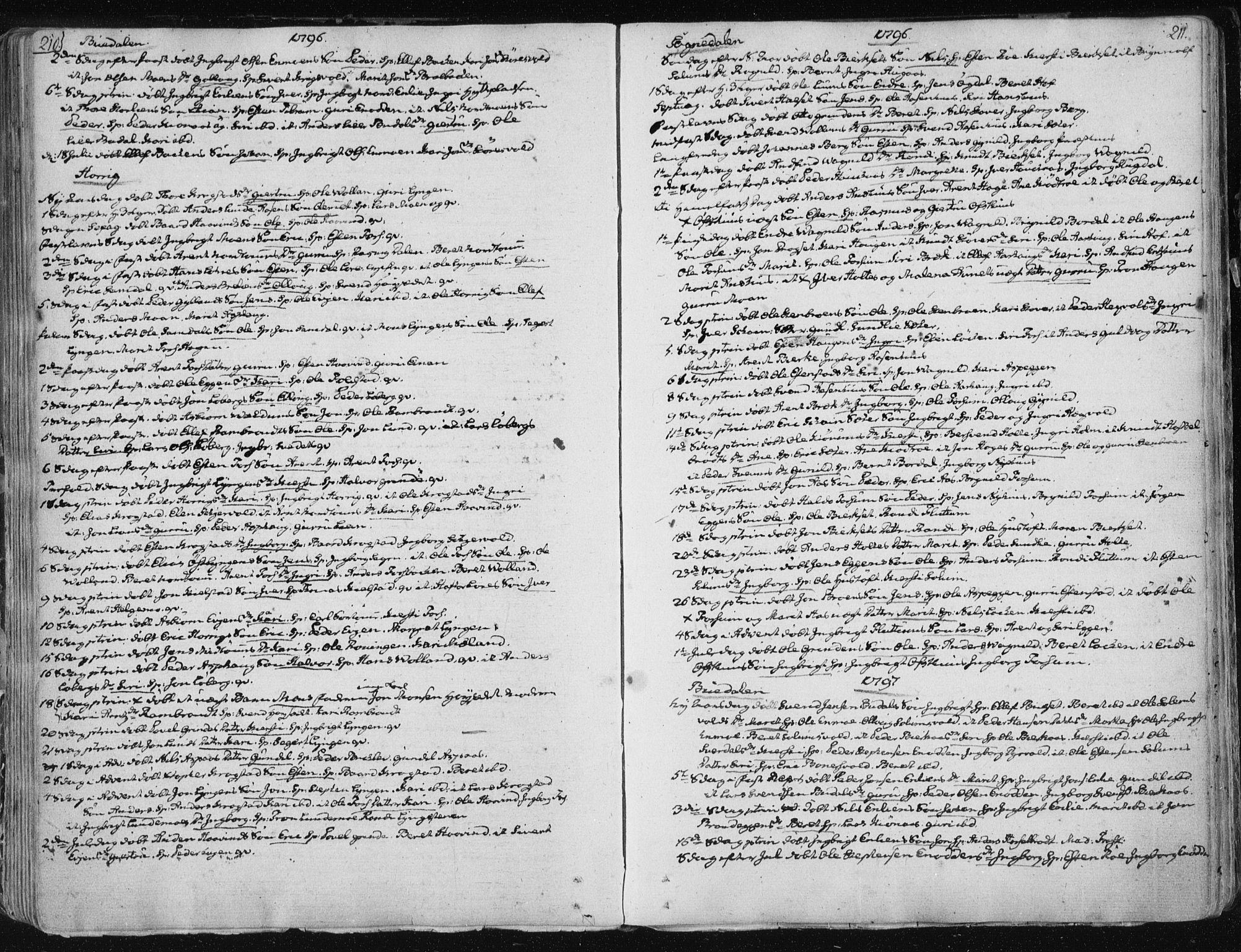 SAT, Ministerialprotokoller, klokkerbøker og fødselsregistre - Sør-Trøndelag, 687/L0992: Ministerialbok nr. 687A03 /1, 1788-1815, s. 210-211