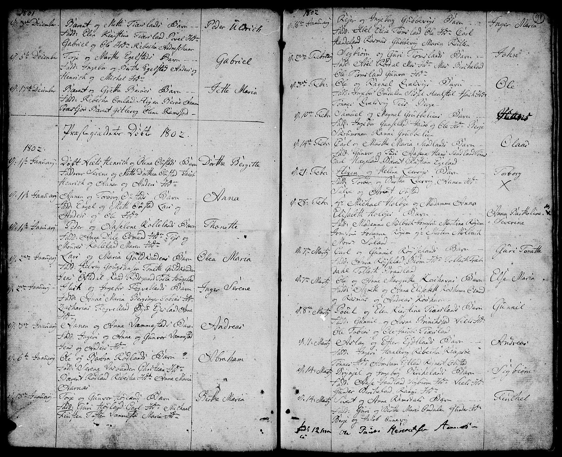 SAK, Lyngdal sokneprestkontor, F/Fa/Fac/L0004: Ministerialbok nr. A 4, 1780-1815, s. 91