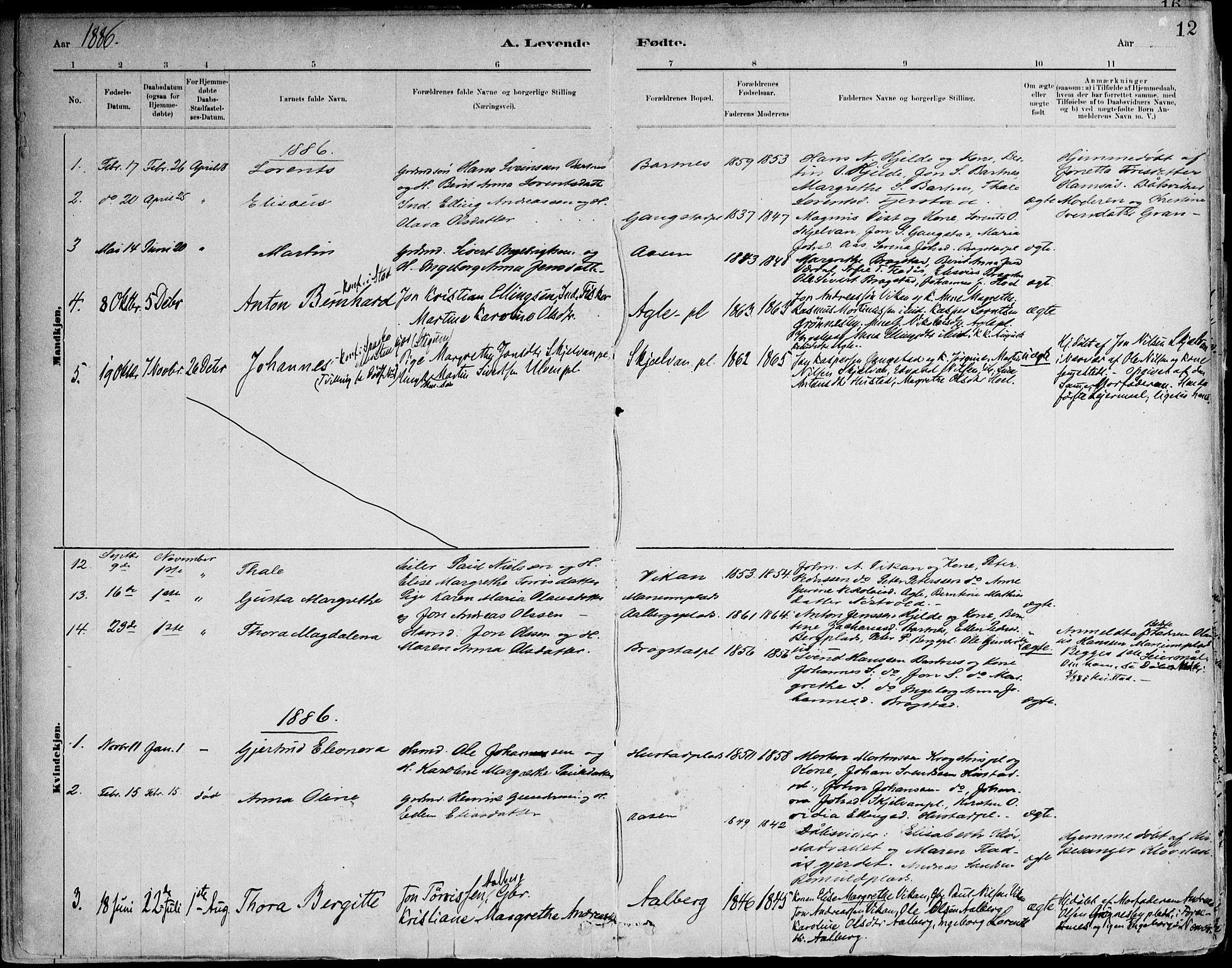 SAT, Ministerialprotokoller, klokkerbøker og fødselsregistre - Nord-Trøndelag, 732/L0316: Ministerialbok nr. 732A01, 1879-1921, s. 12