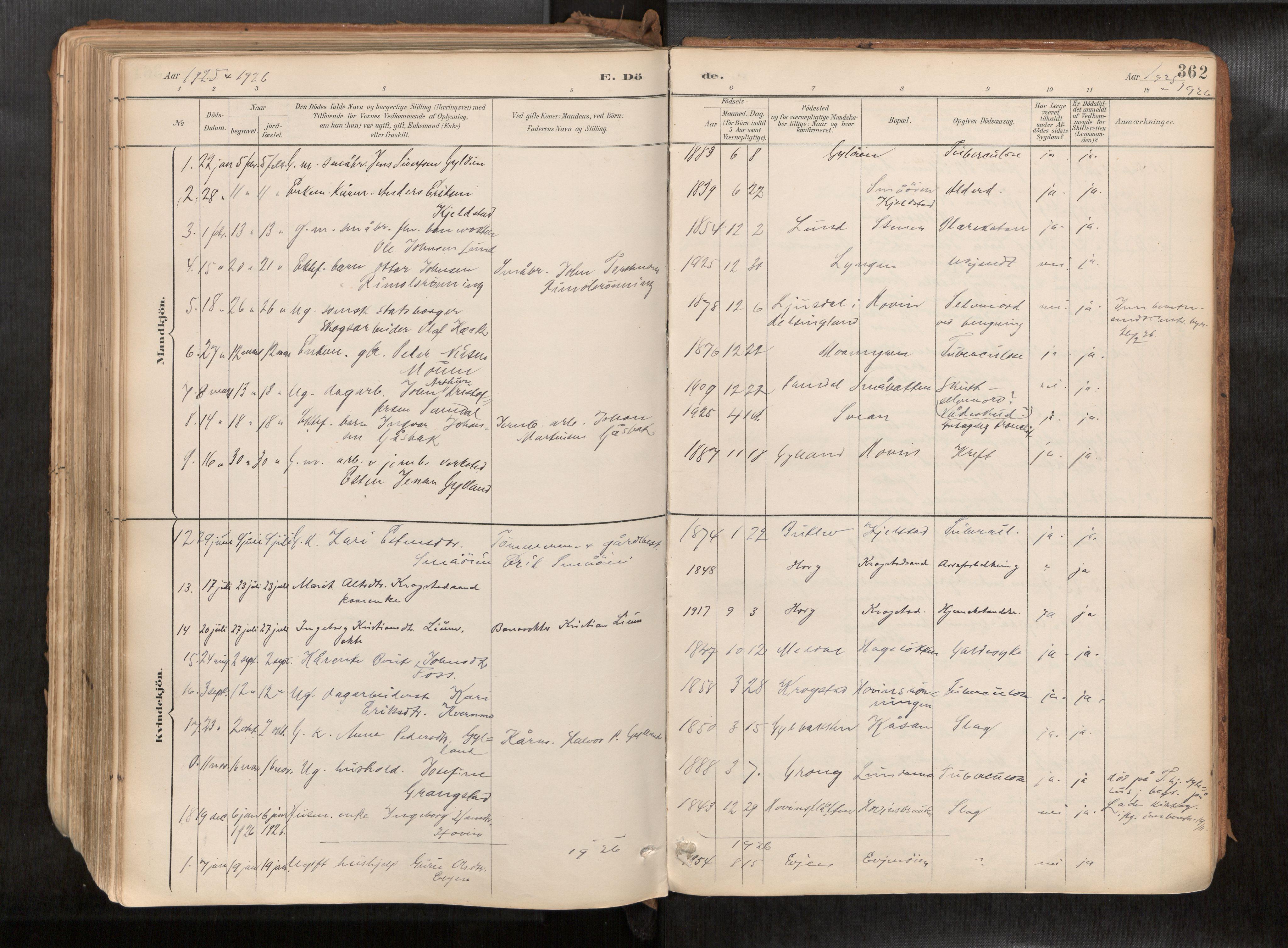 SAT, Ministerialprotokoller, klokkerbøker og fødselsregistre - Sør-Trøndelag, 692/L1105b: Ministerialbok nr. 692A06, 1891-1934, s. 362