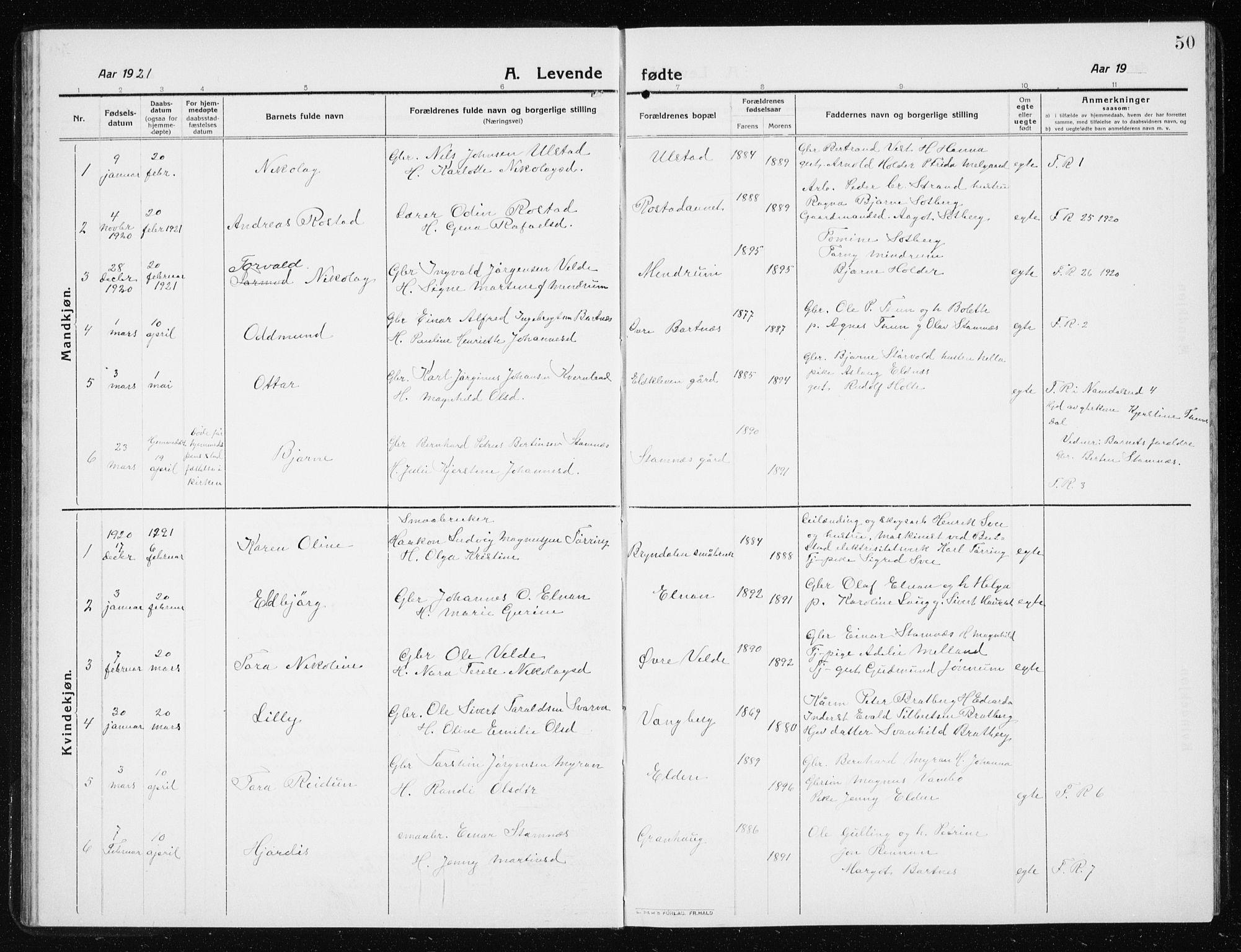 SAT, Ministerialprotokoller, klokkerbøker og fødselsregistre - Nord-Trøndelag, 741/L0402: Klokkerbok nr. 741C03, 1911-1926, s. 50