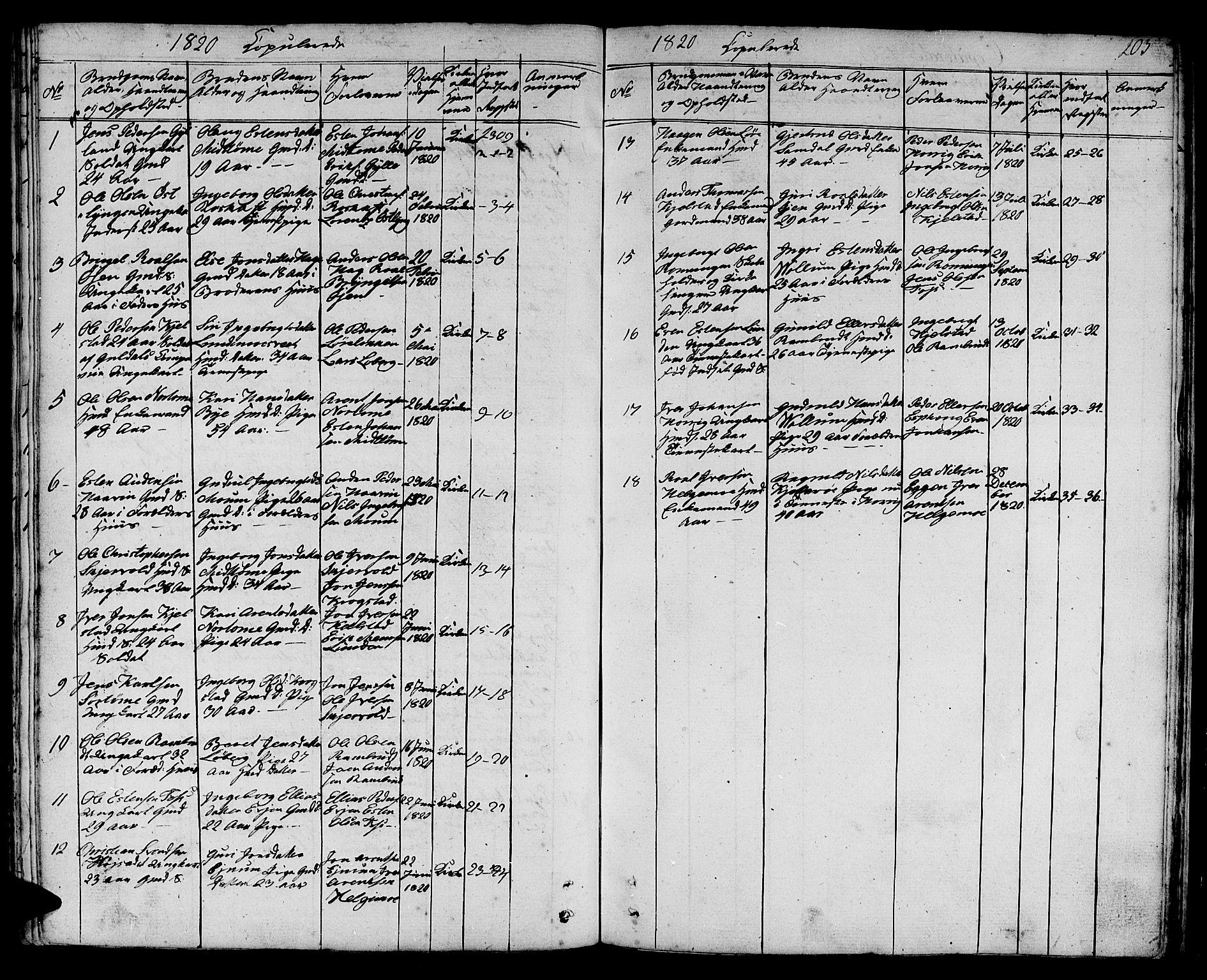 SAT, Ministerialprotokoller, klokkerbøker og fødselsregistre - Sør-Trøndelag, 692/L1108: Klokkerbok nr. 692C03, 1816-1833, s. 203