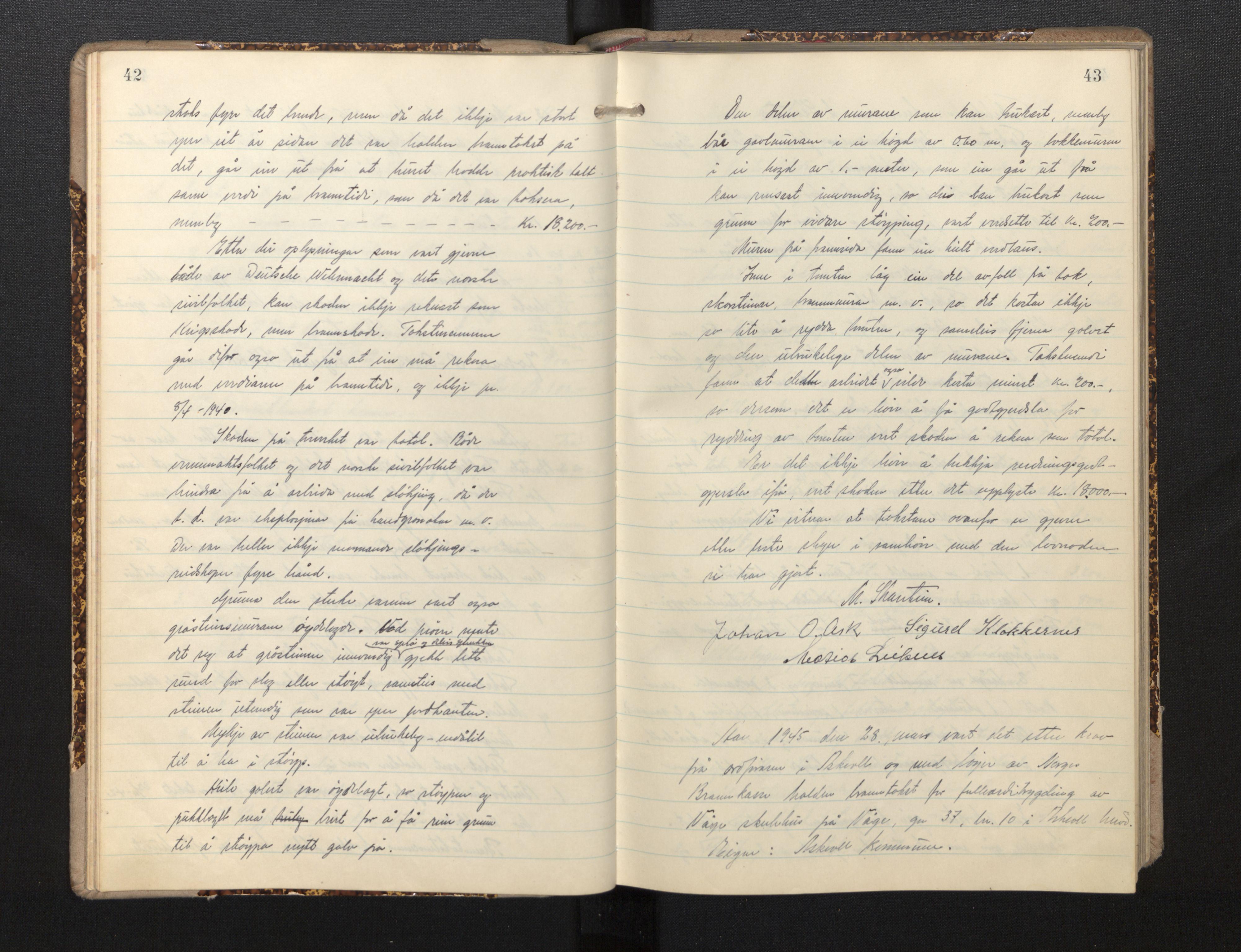 SAB, Lensmannen i Askvoll, 0012/L0002: Branntakstprotokoll, 1942-1952, s. 42-43