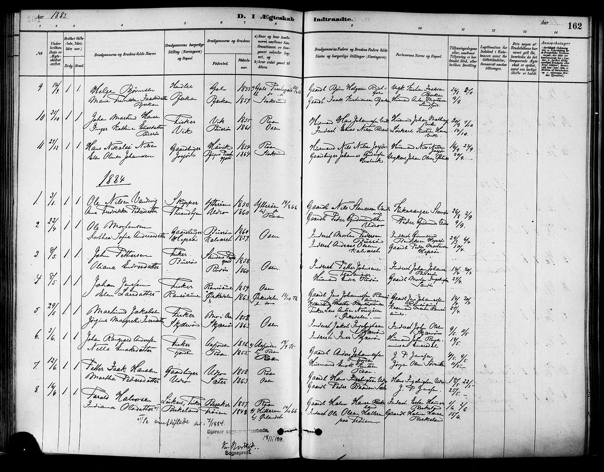SAT, Ministerialprotokoller, klokkerbøker og fødselsregistre - Sør-Trøndelag, 657/L0707: Ministerialbok nr. 657A08, 1879-1893, s. 162